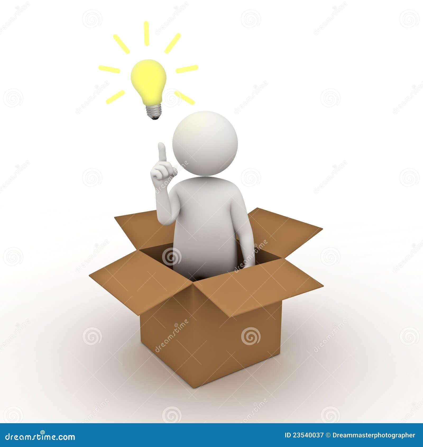 de gloeilamp van het idee buiten het doosconcept stock illustratie illustratie bestaande uit. Black Bedroom Furniture Sets. Home Design Ideas