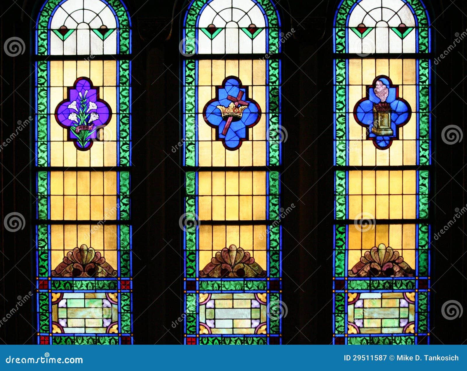 De godsdienstige Vensters van het Gebrandschilderd glas