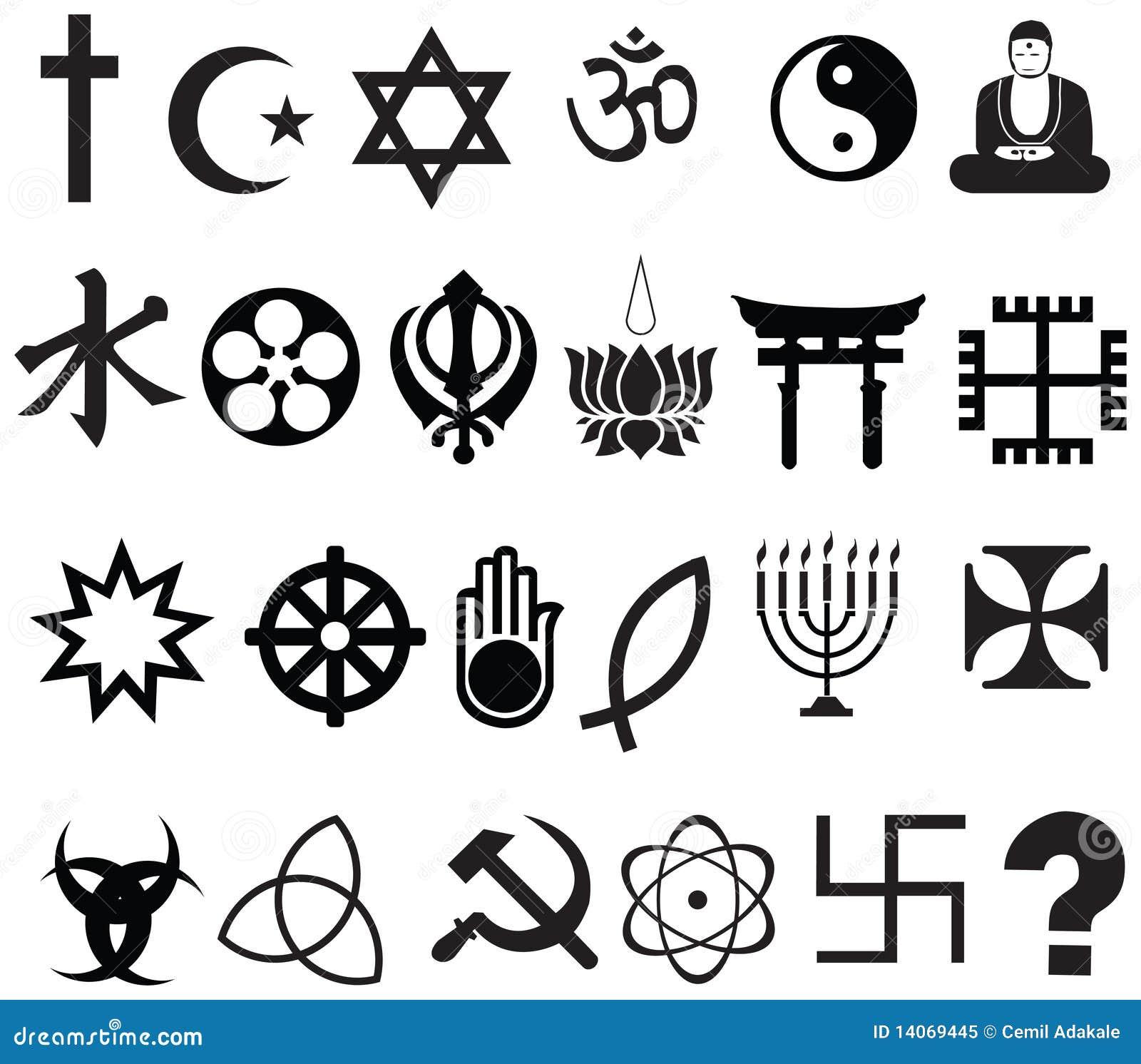 De godsdienstsymbool van de wereld