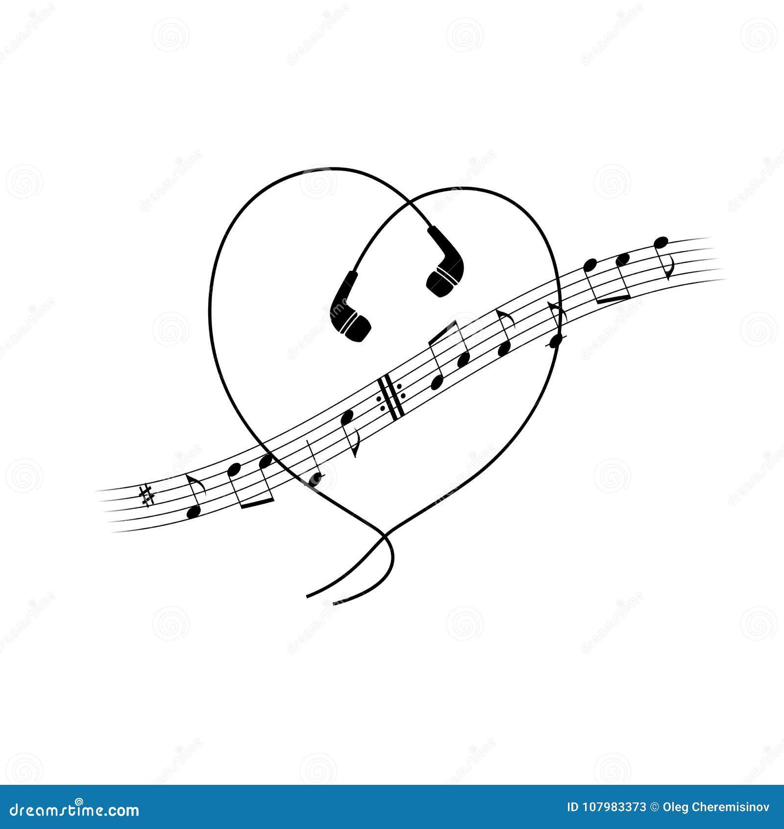 De golf van de muzieknota met hoofdtelefoons in hartvorm Vectort-shirt of afficheontwerp