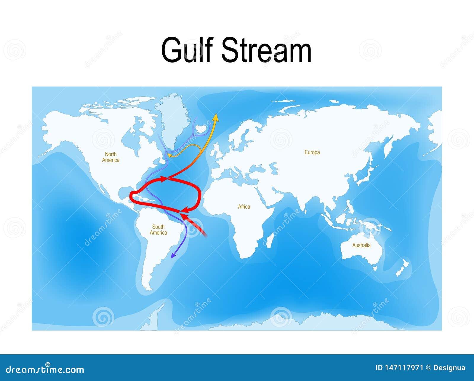 De Golfstroom is een warme en vlugge stroom van de Atlantische Oceaan