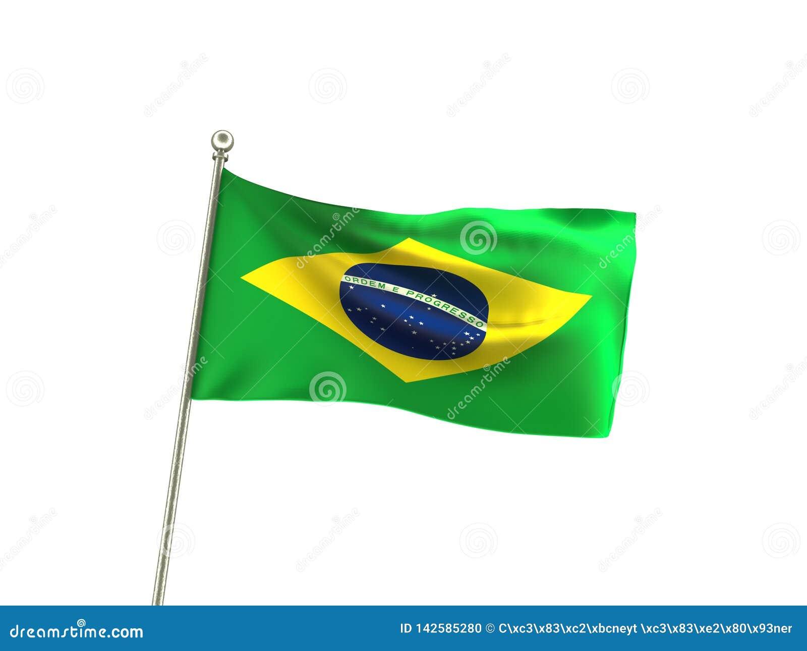De golvende Vlag Brazilië van Brazilië
