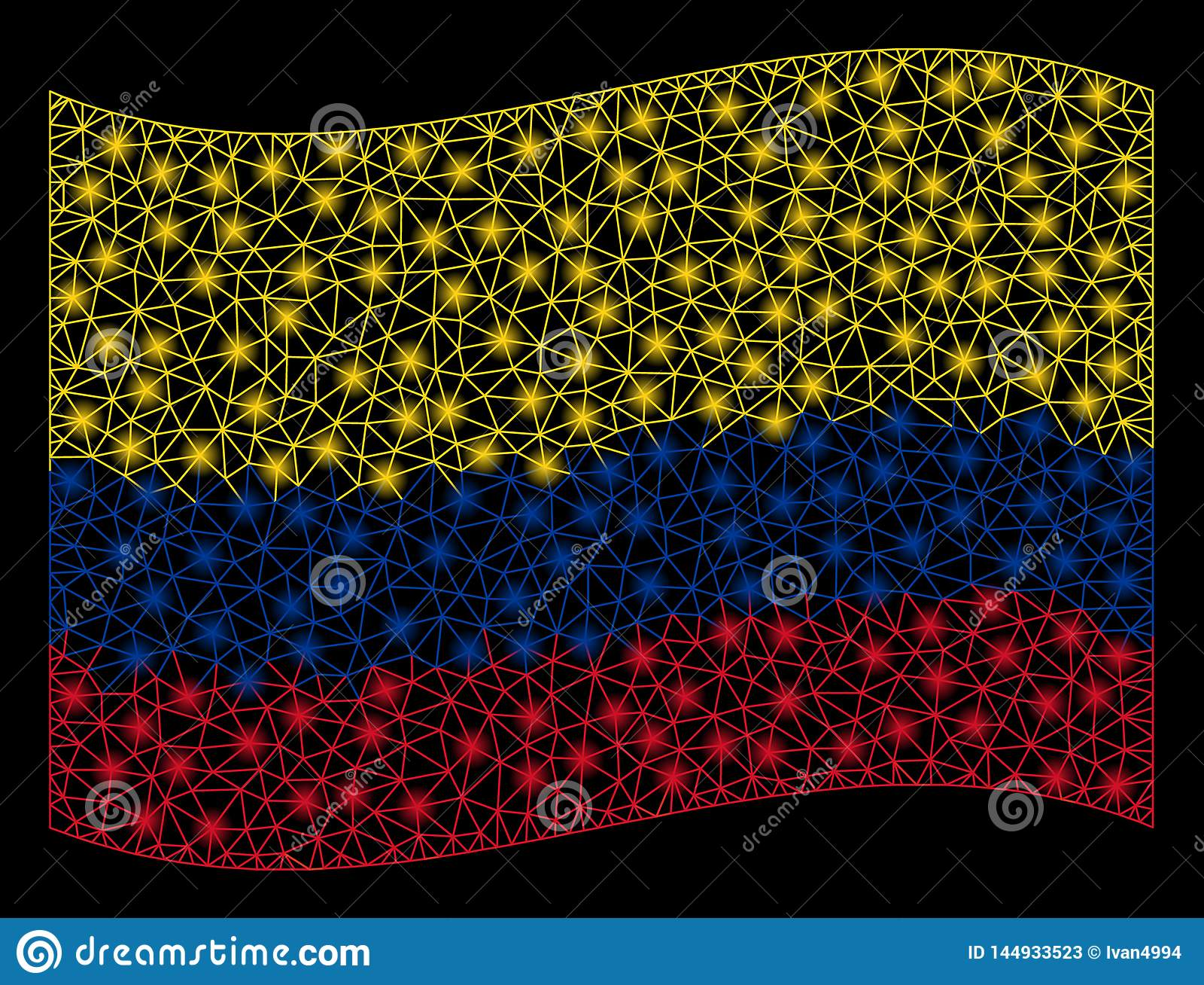 De golvende Vlag Mesh Illustration van Colombia met Lichteffect
