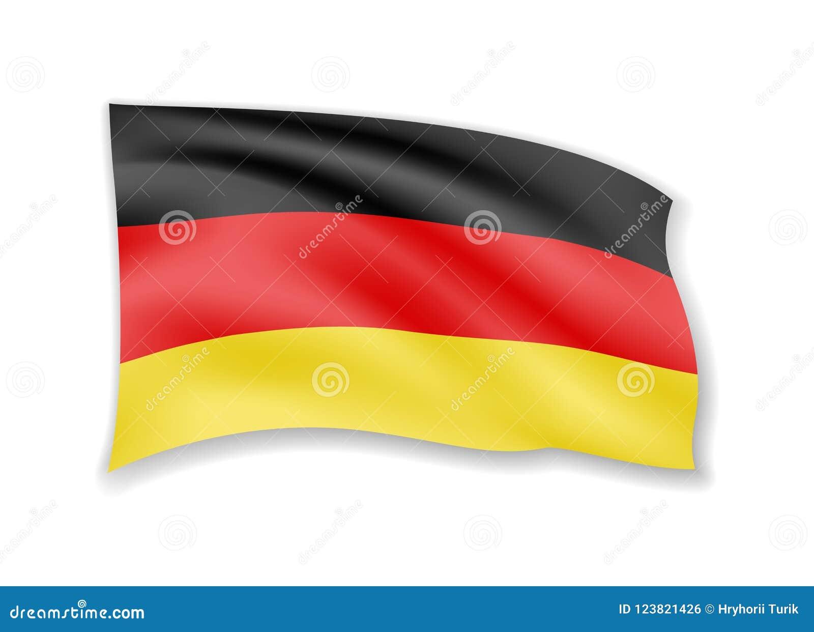 De golvende Vlag van Duitsland op wit Vlag in de wind