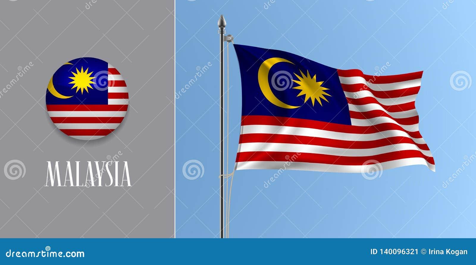 De golvende vlag van Maleisië op vlaggestok en ronde pictogram vectorillustratie