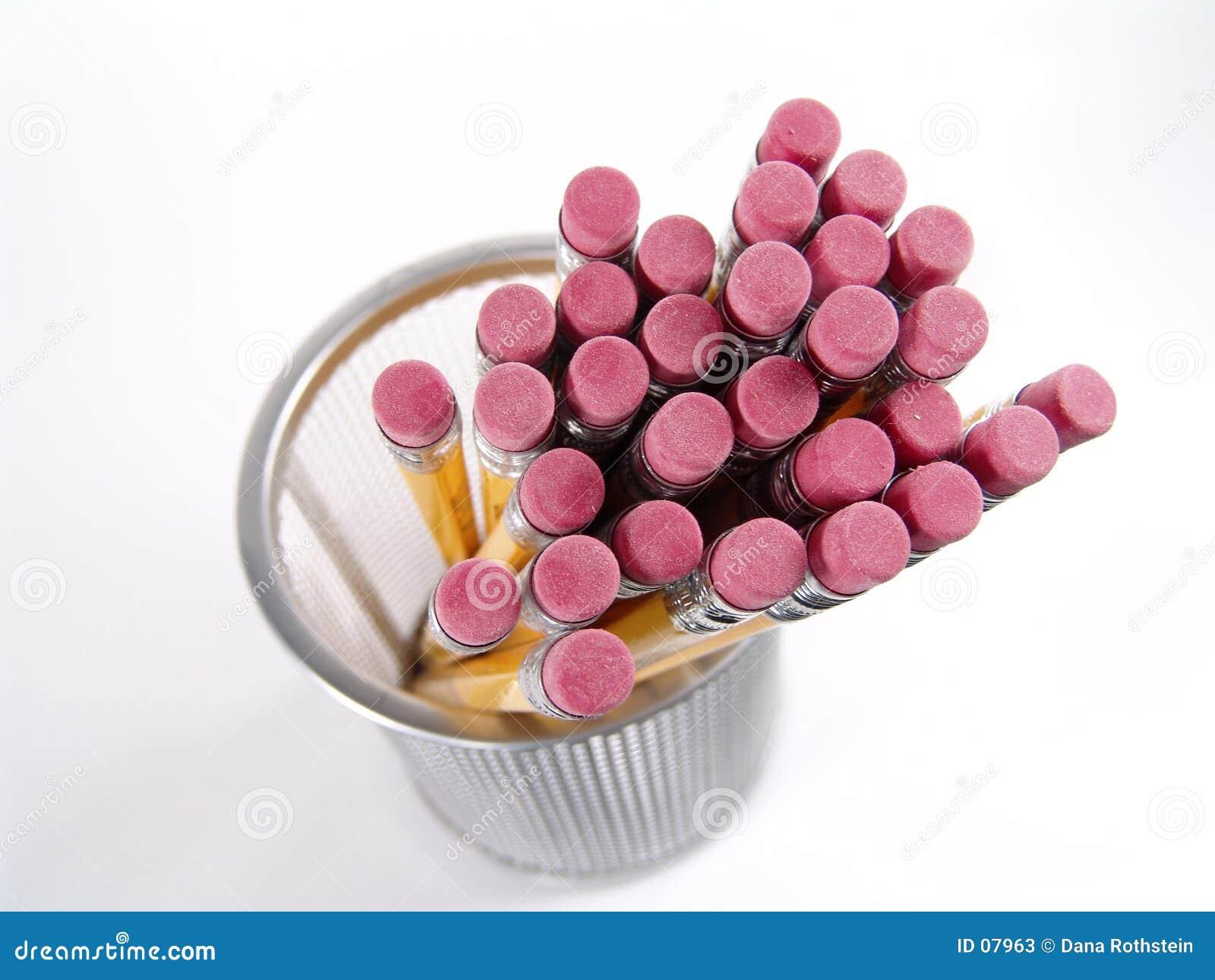 De Gommen van het potlood