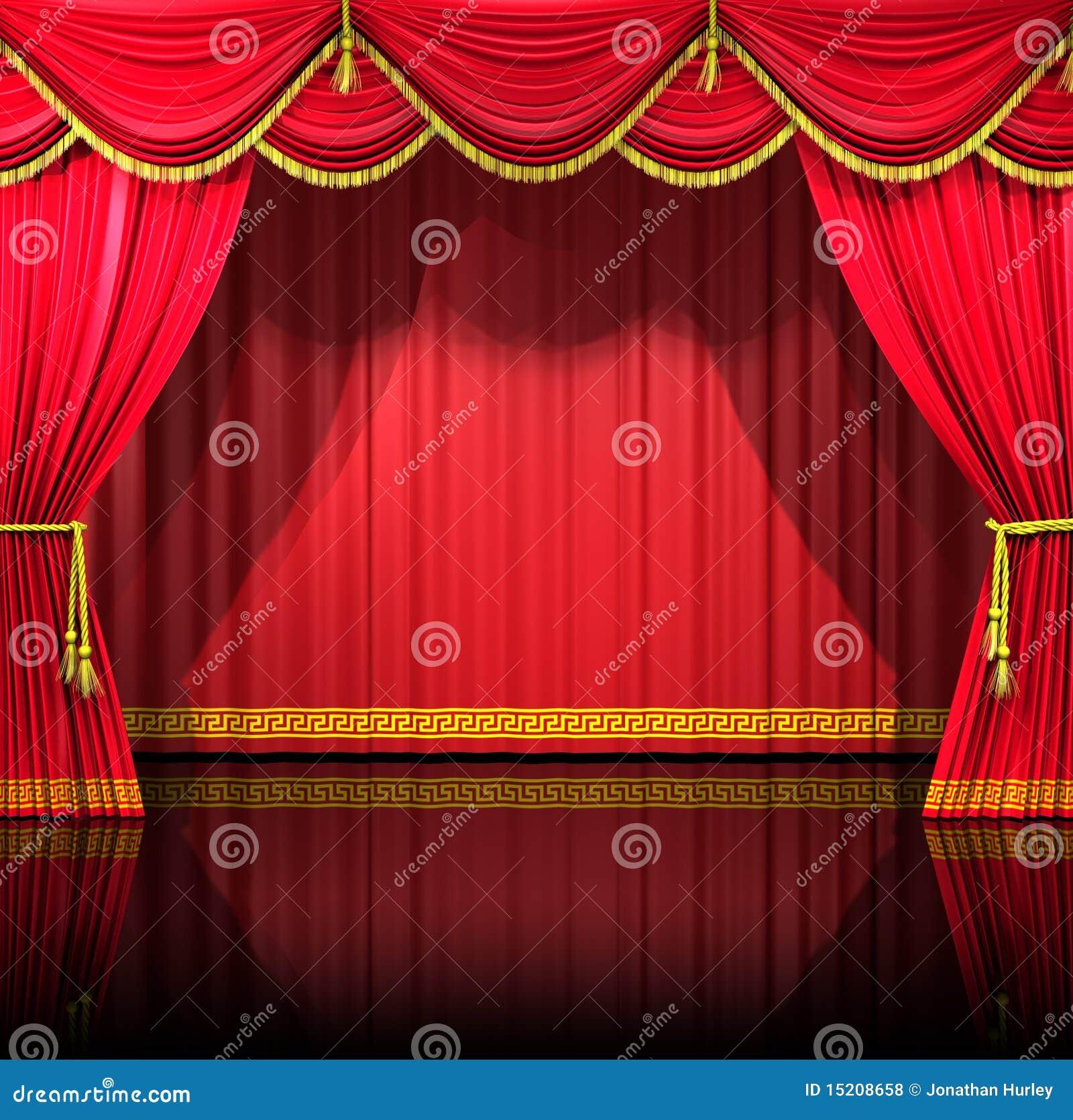De Gordijnen van het theater met achtergrond