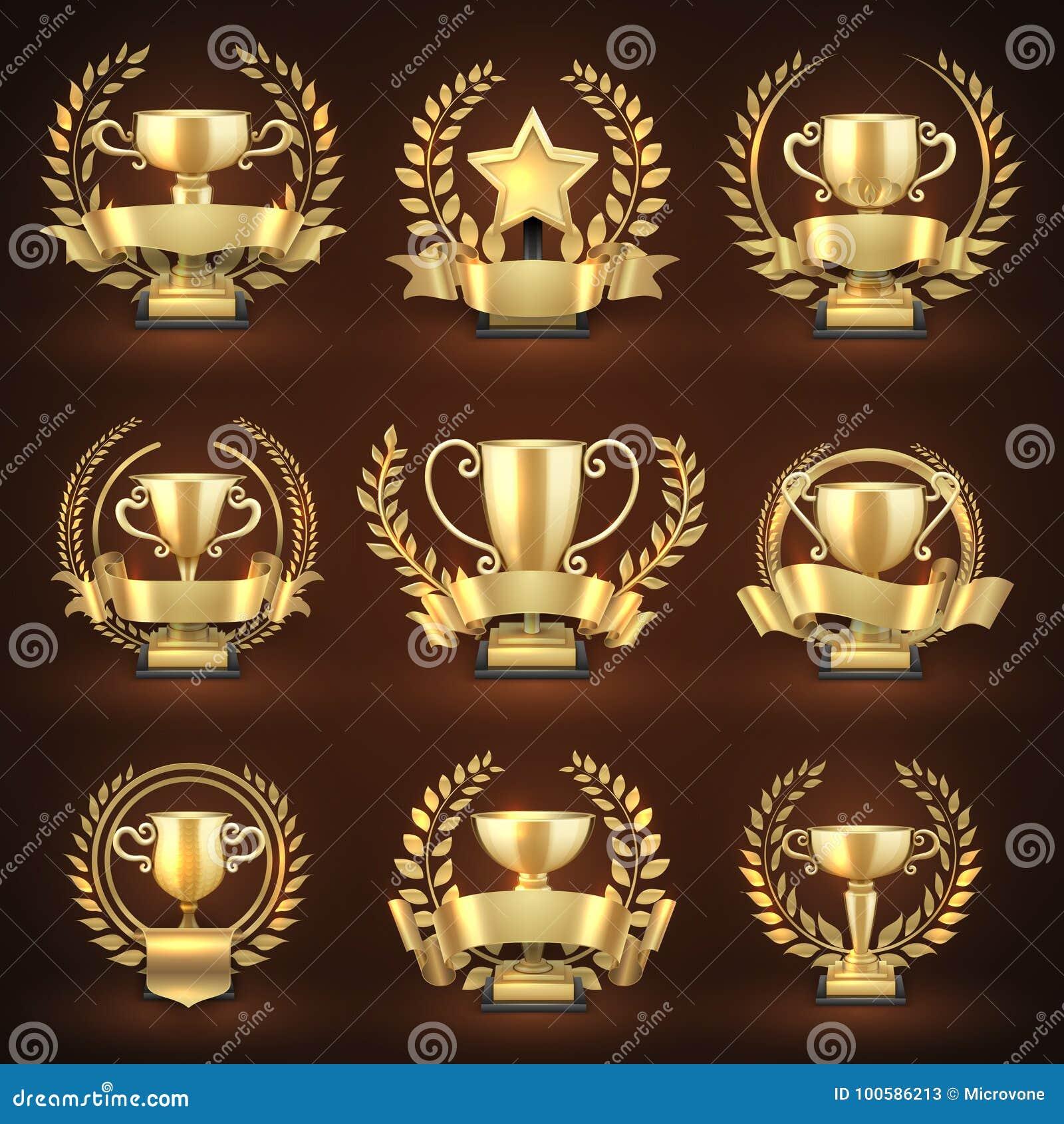De gouden koppen van de winnaartrofee, de toekenning van prijssporten met gouden kronen en linten