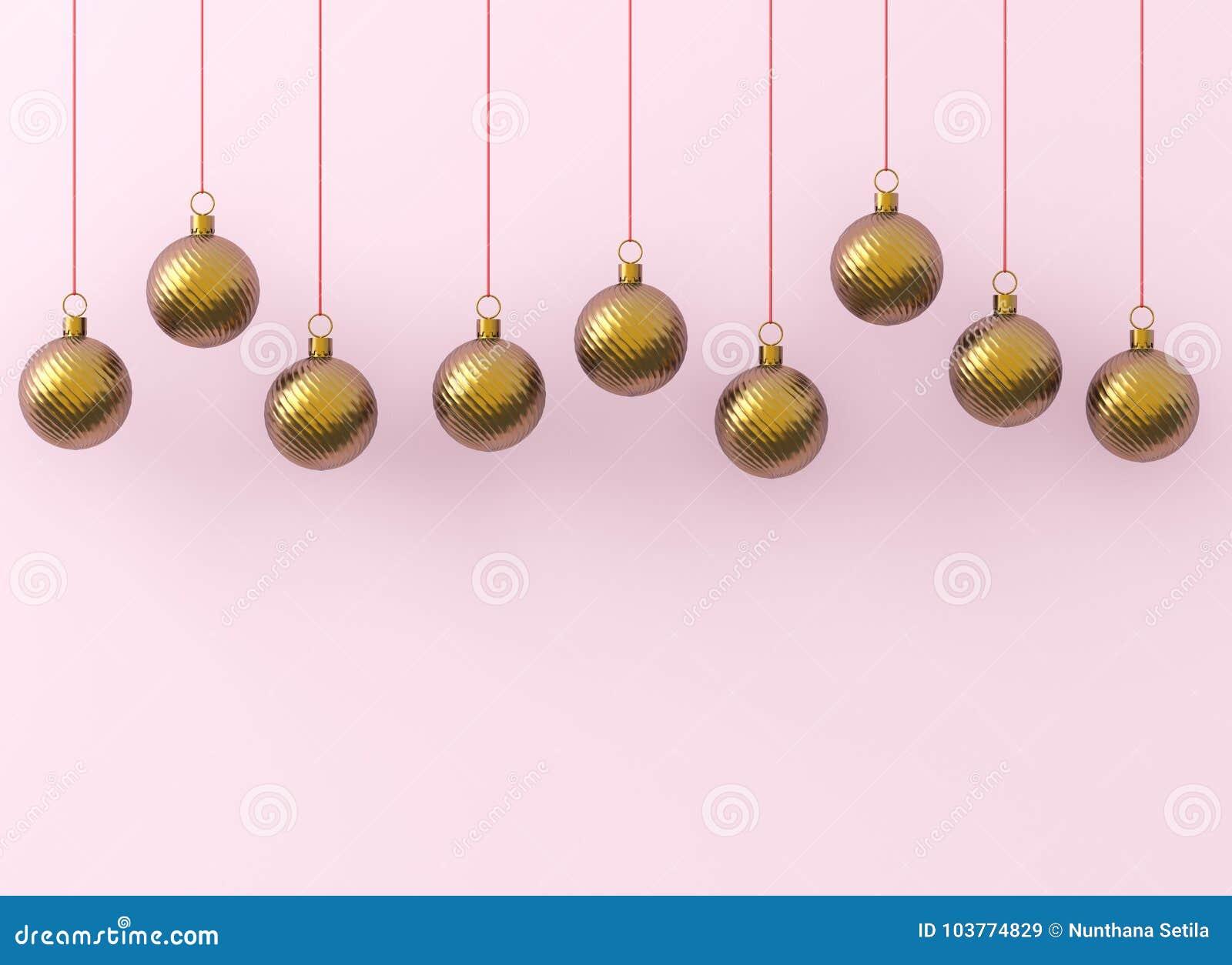 De gouden ornamenten van Kerstmisballen op roze achtergrond De lijnen van de de decoratie het gouden rode glanzende winding van d