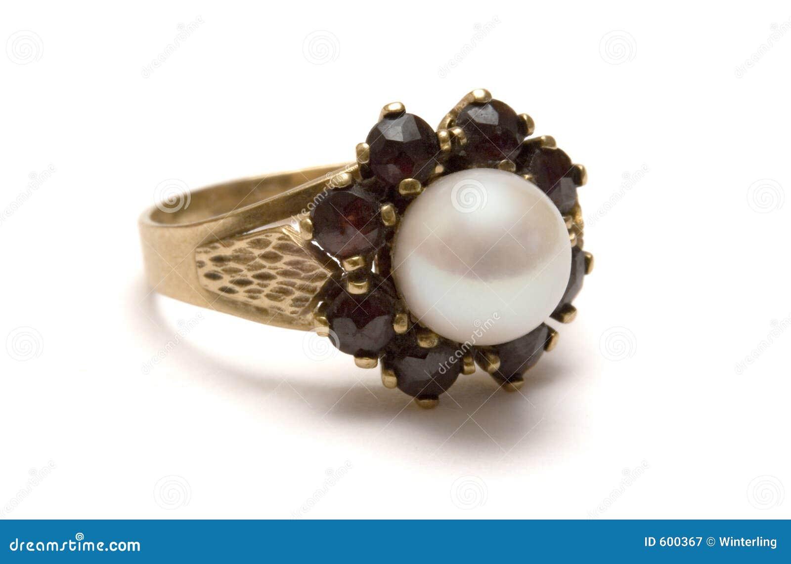 De Gouden Ring van de granaat met Parel
