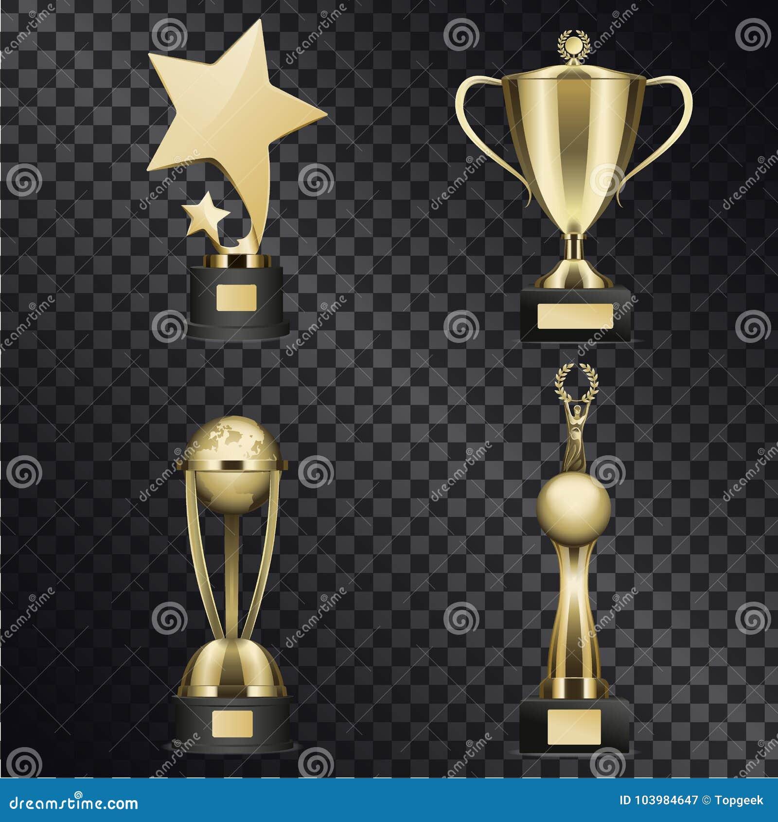De gouden Trofee vormt Realistische Vectorinzameling tot een kom