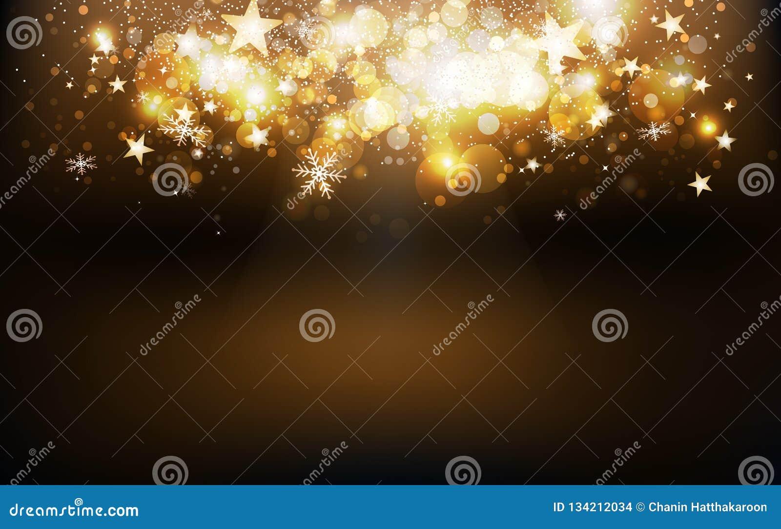 De gouden vallende sterren barsten seizoen van de confettien het dalende vakantie, sneeuwvlokken en stof het gloeien onduidelijk