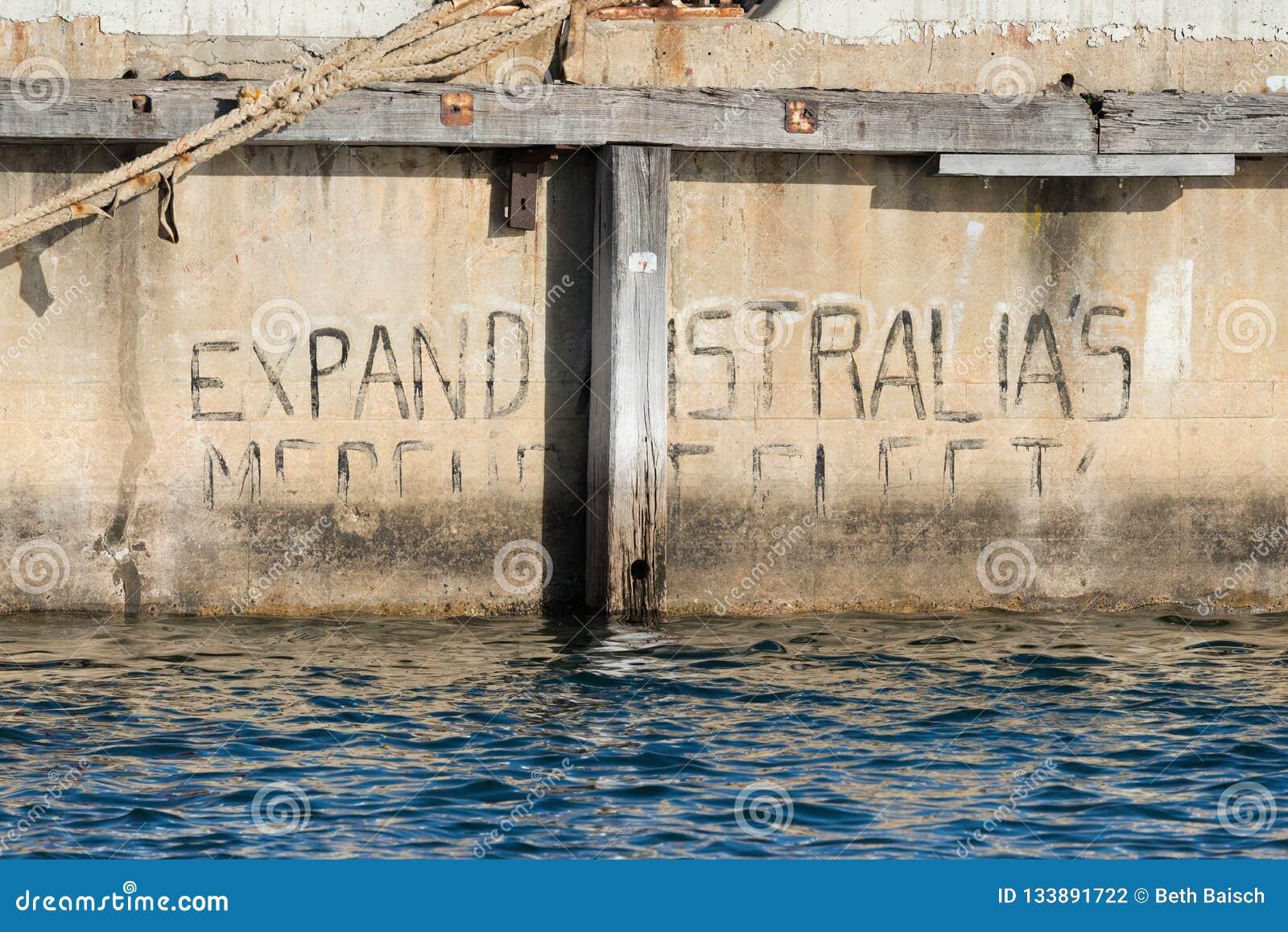 De graffiti 'breid van Australië uit van KoopvaardijFleet 'in Zuid-Australië