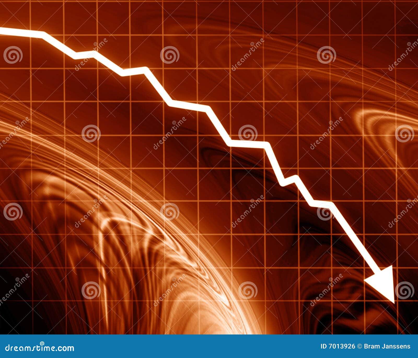 De grafiek die van de pijl dalen