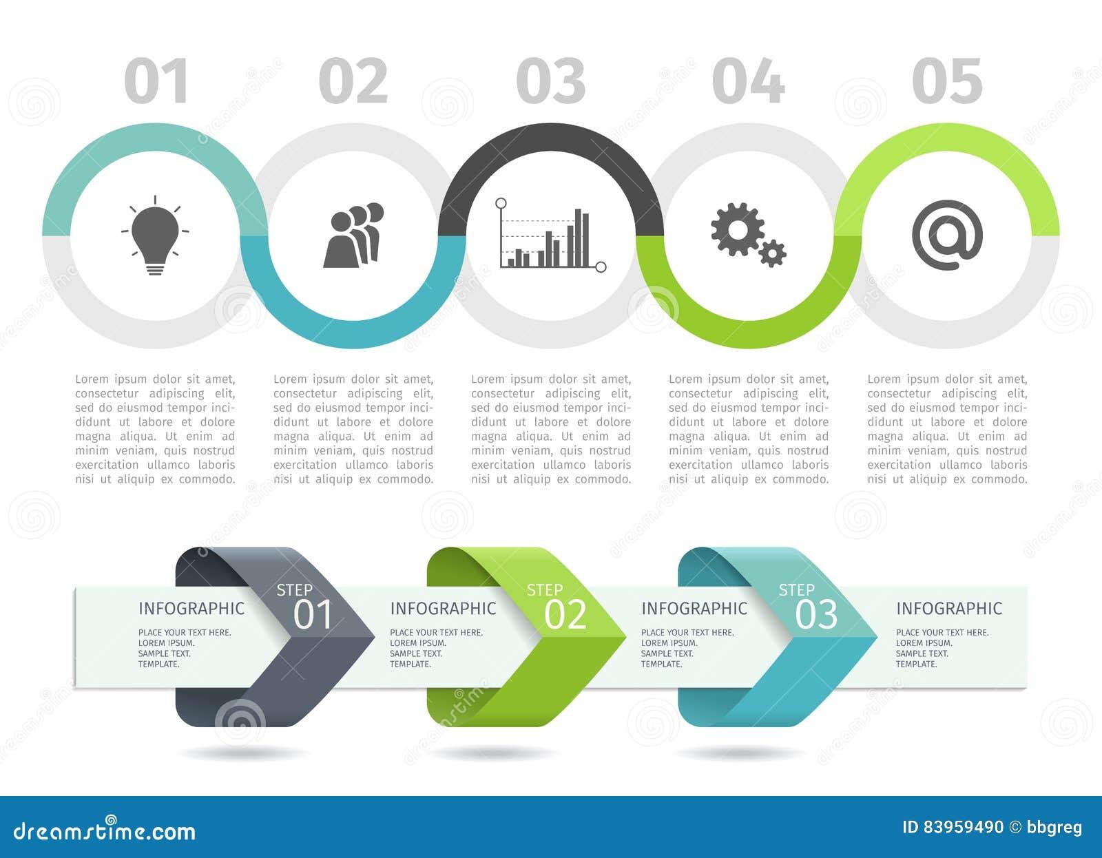 De grafiek en de pijlen van het Infographicproces met voeren opties op Vector Malplaatje