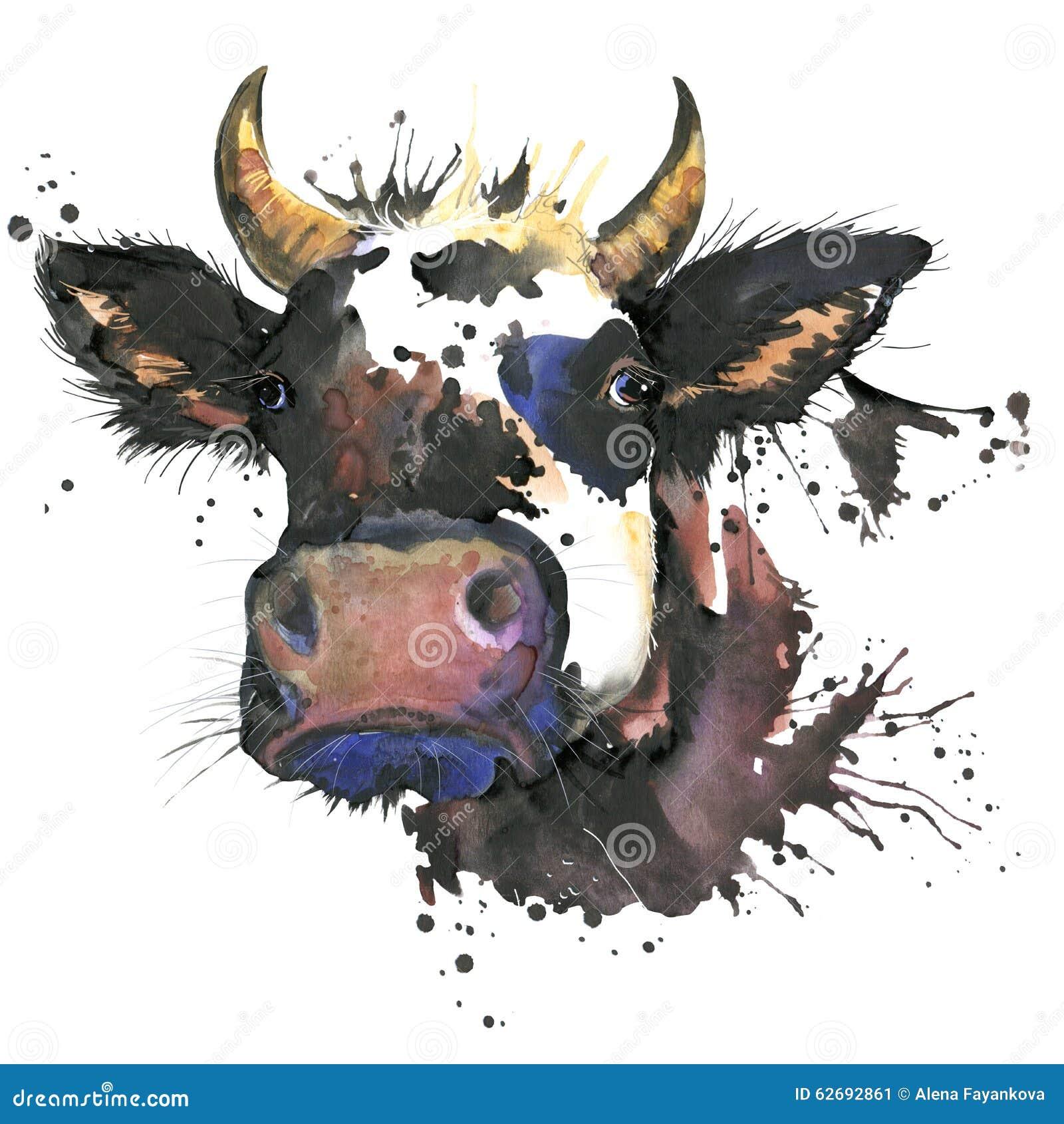 De grafiek van de koewaterverf koe dierlijke illustratie