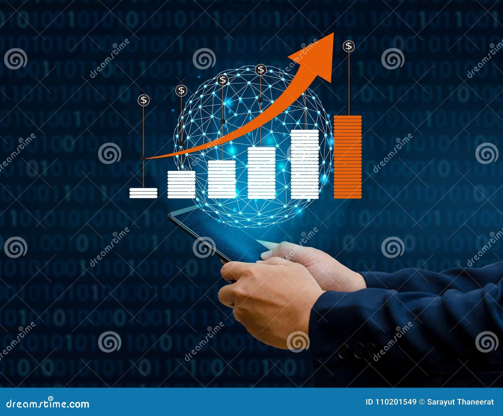 De grafiek van financiële de groei globale communicatie Binaire Slimme Telefoons en het Zakenlui van wereldinternet drukken de te