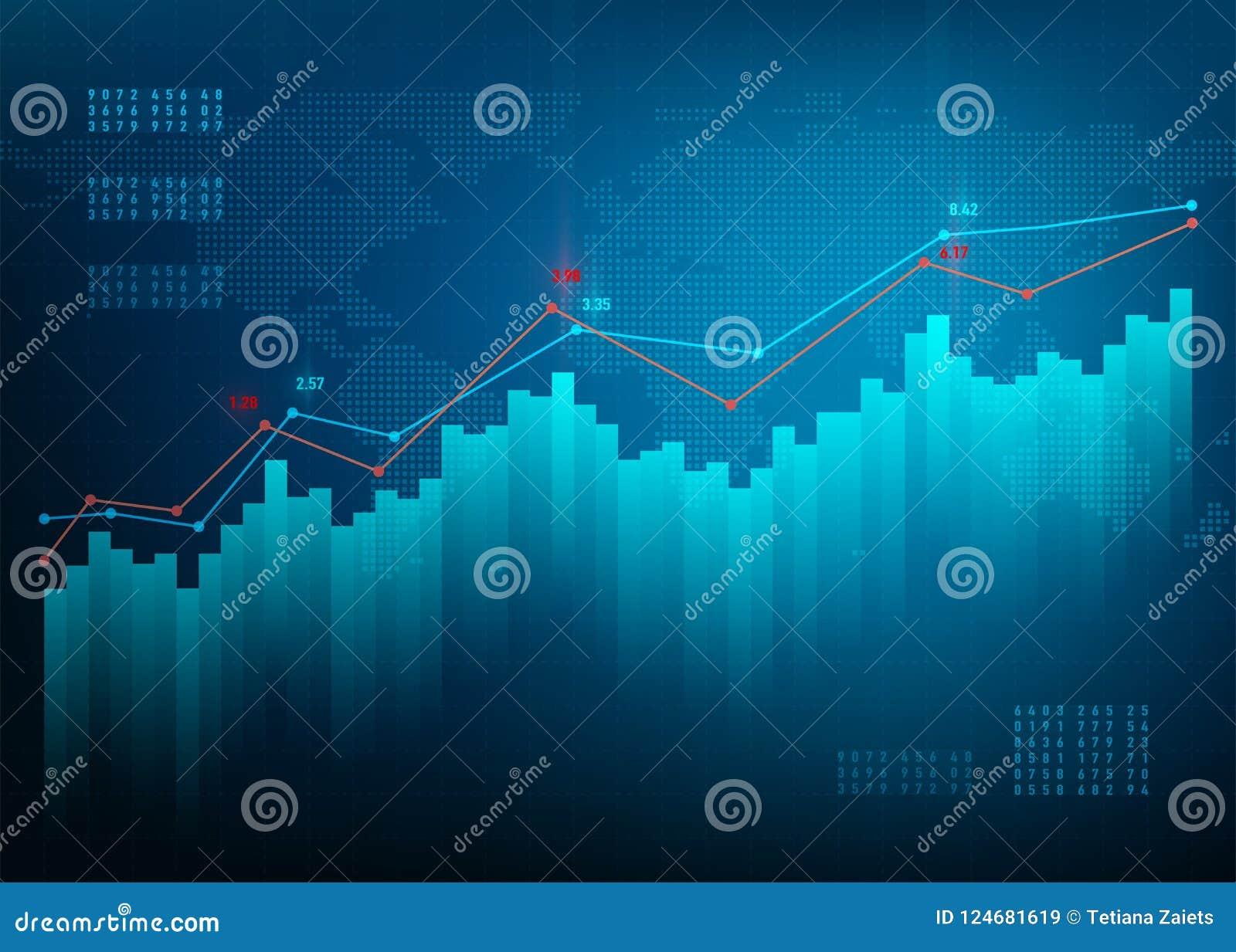 De grafiek van financiën De markt van de voorraadgrafiek De groei bedrijfs blauwe vectorachtergrond De online bank van bandgegeve