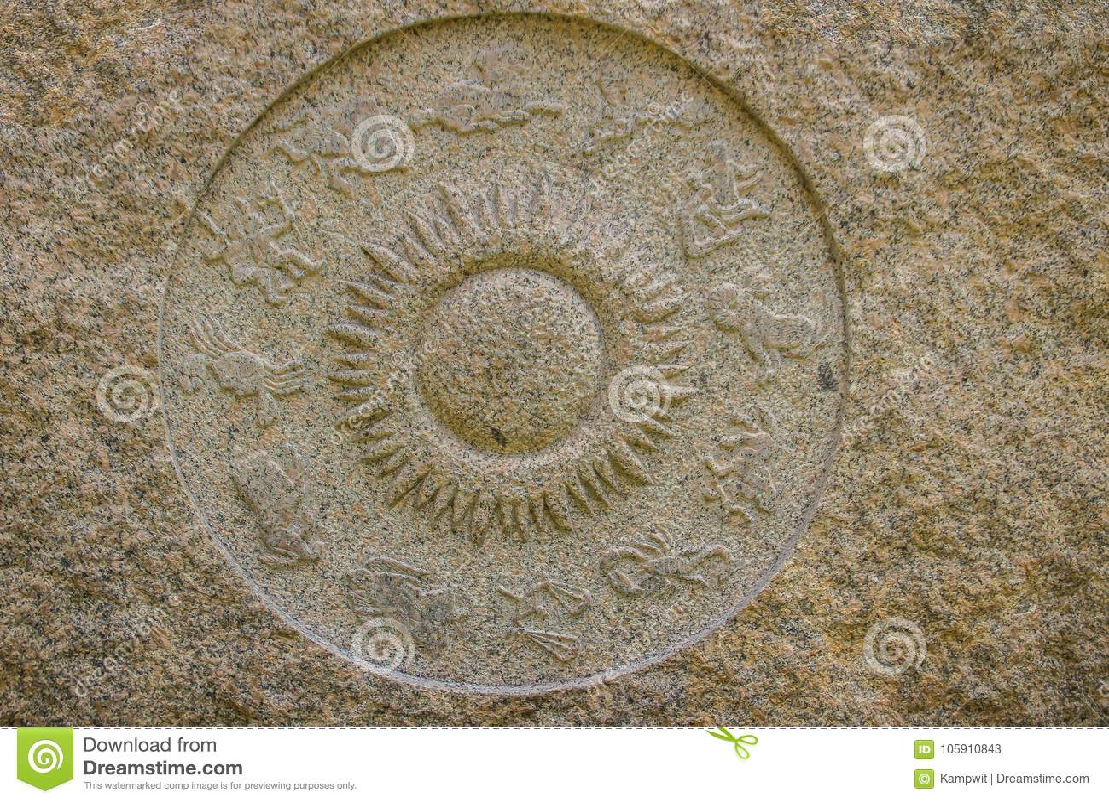 De grafiek van het horoscoopwiel van marmeren steen wordt gemaakt die Oude steenzodi