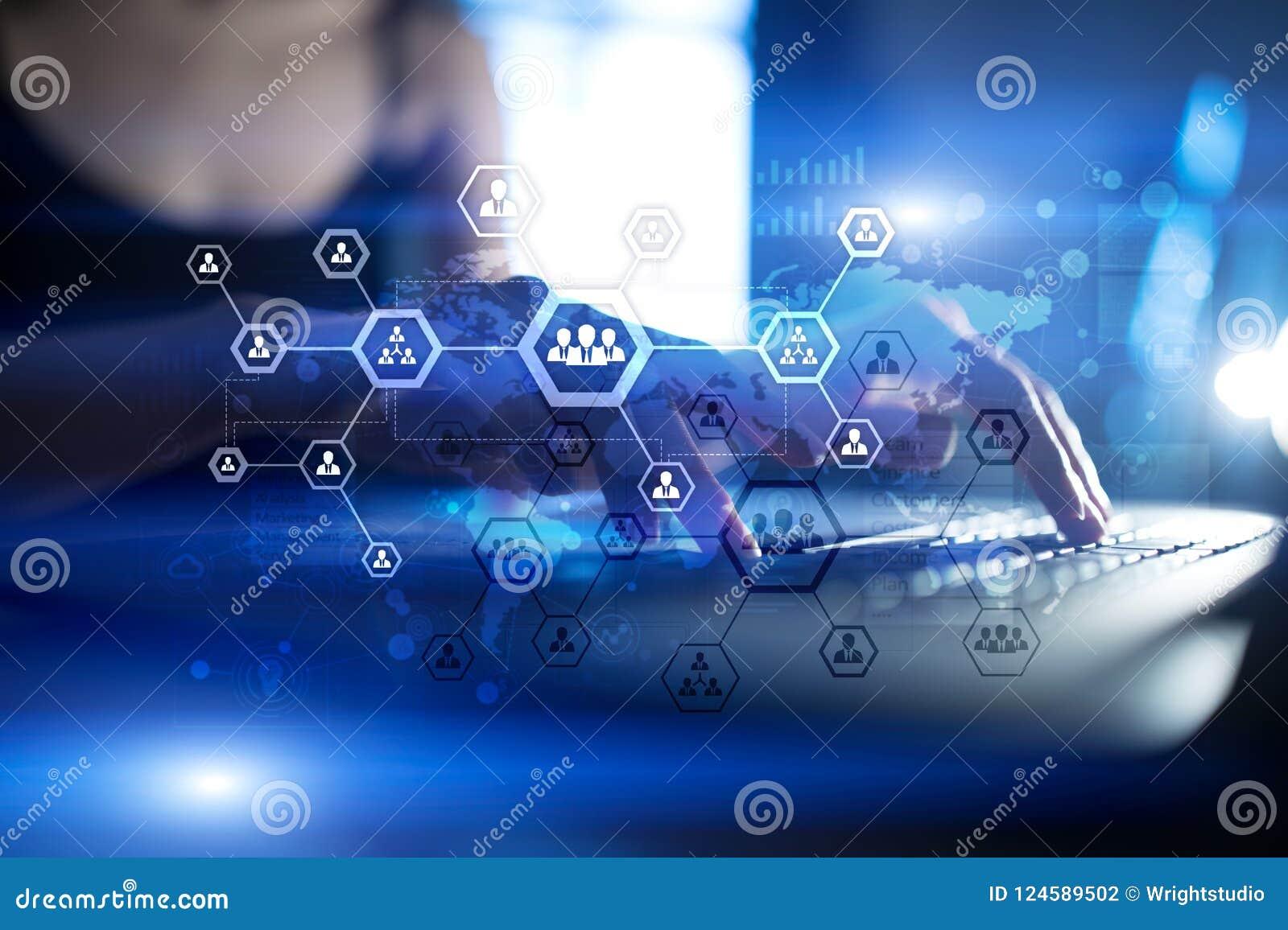 De grafiek van de organisatiestructuur, mensen` s communicatienetwerk U, Personeel