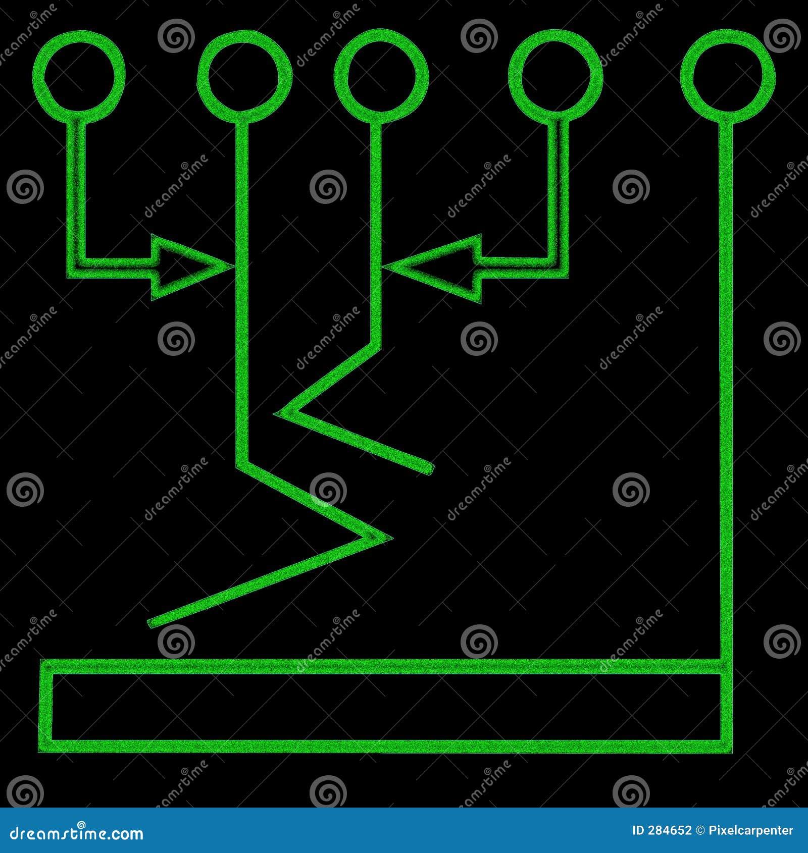 De grafieksymbool 1 van de stroom