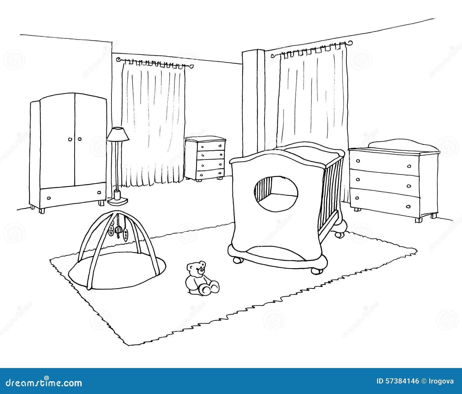 De grafische schets van de jonge geitjesruimte