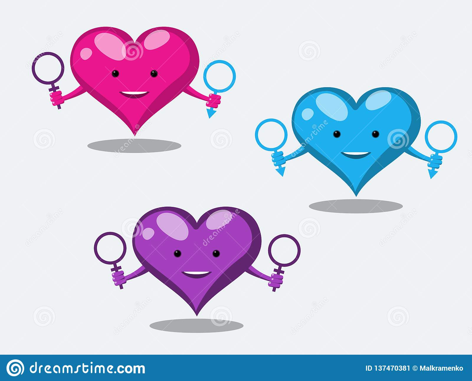 De grappige hartkarakters tonen onconventionele seksuele verhoudingen die de symbolen van een man en een vrouw houden Vector illu