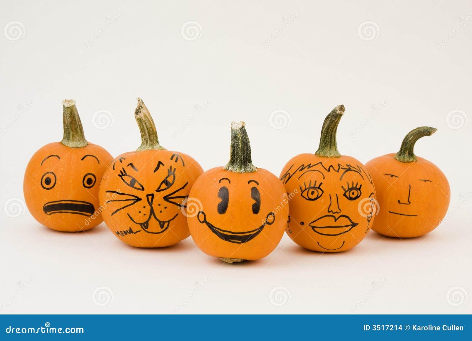 De grappige pompoenen van het gezicht stock afbeeldingen for Funny pumpkin drawings
