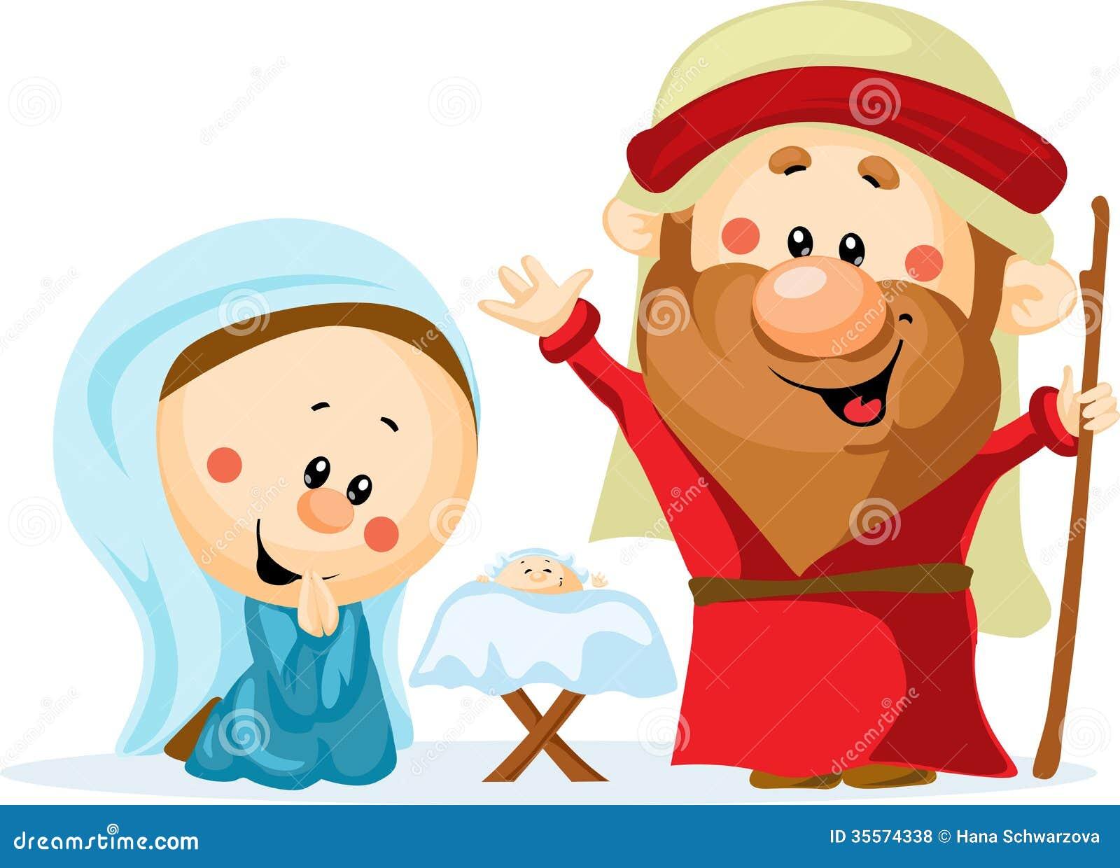 De grappige scène van de Kerstmisgeboorte van christus