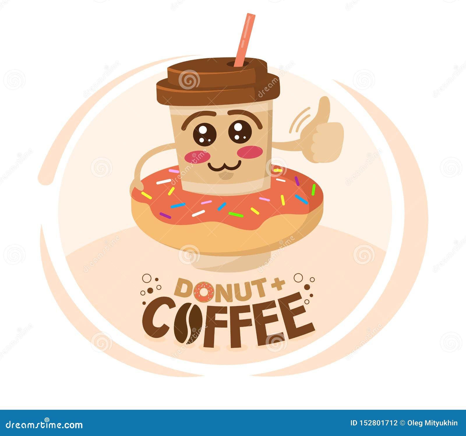 De grappige vectorillustratie van de koffiekop van het beeldverhaalkarakter droeg een doughnut Het concept van de koffiewinkel