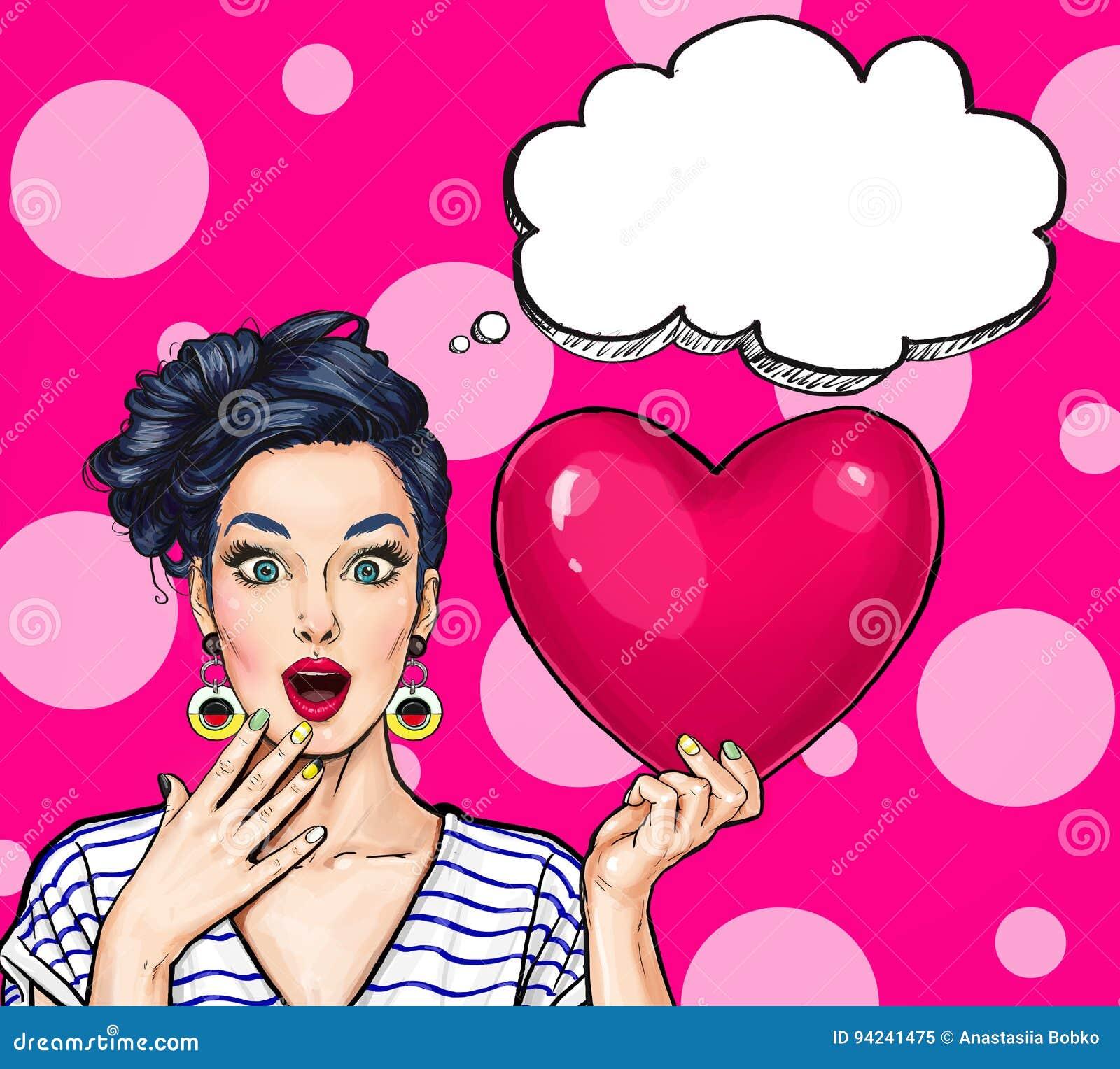 De greep rood hart van de pop-artvrouw Grappige vrouw sexy Pop-artliefde De prentbriefkaar van de valentijnskaartendag