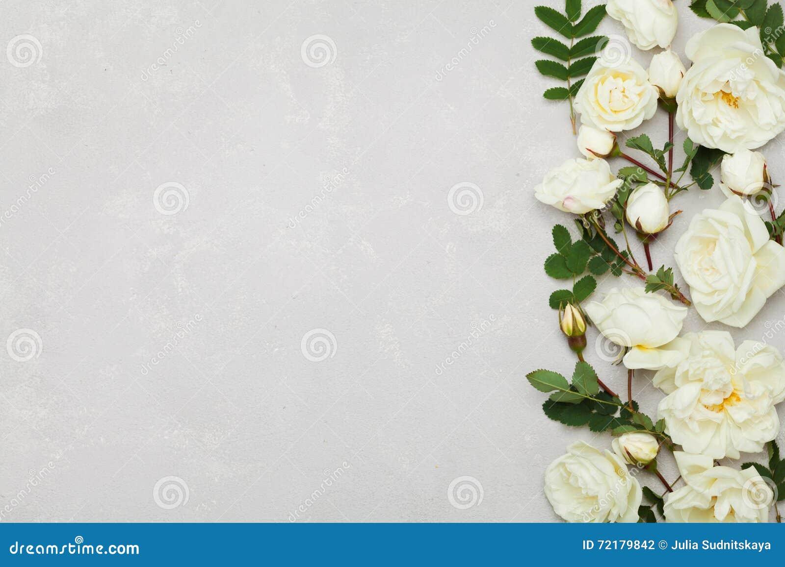 De grens van witte roze bloemen en groene bladeren op lichtgrijze achtergrond van hierboven, mooi bloemen vlak patroon, legt