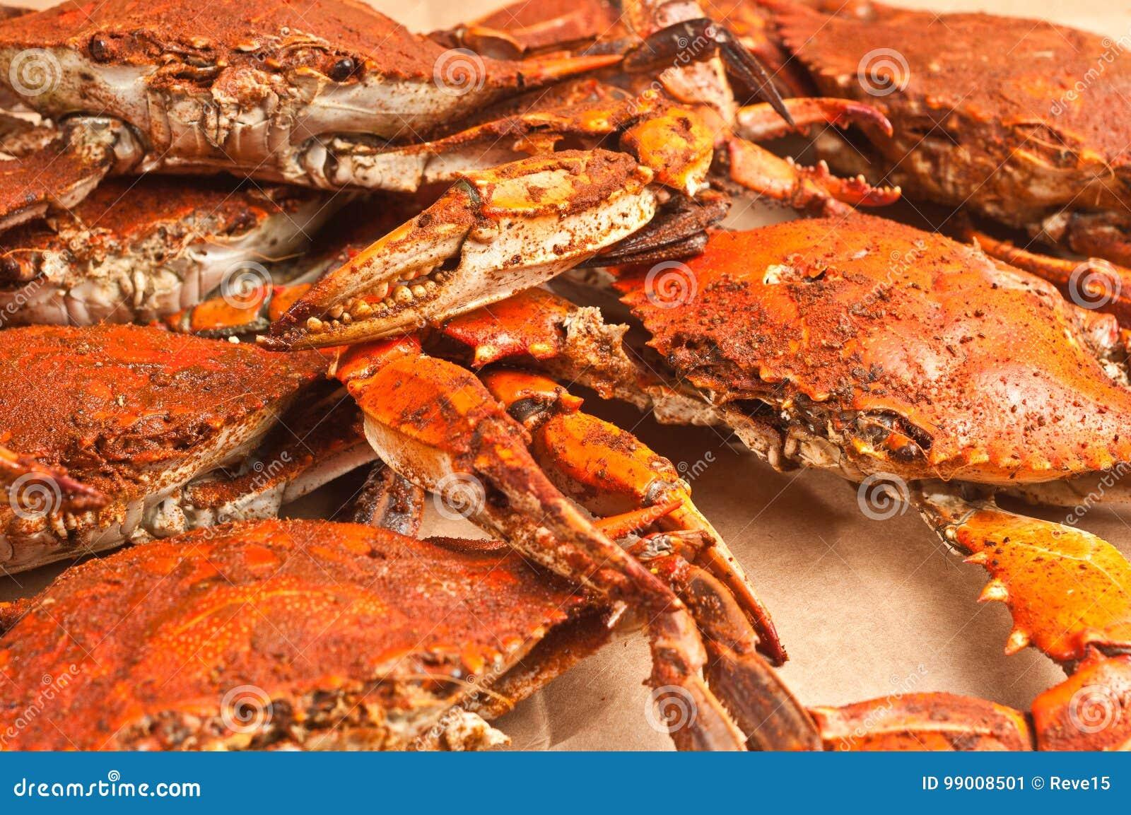 De griffe bleue de chesapeake colossal, cuit et chevronné à la vapeur de pile marche en crabe