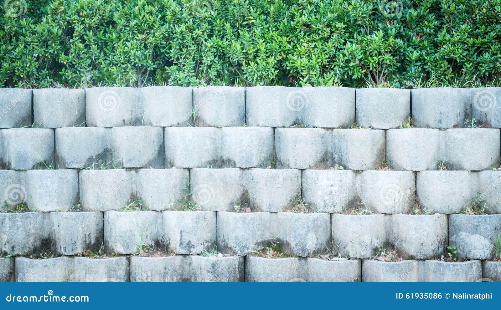 De grijze muur van het baksteenblok in de tuin stock foto afbeelding 61935086 - Muur tuin ...