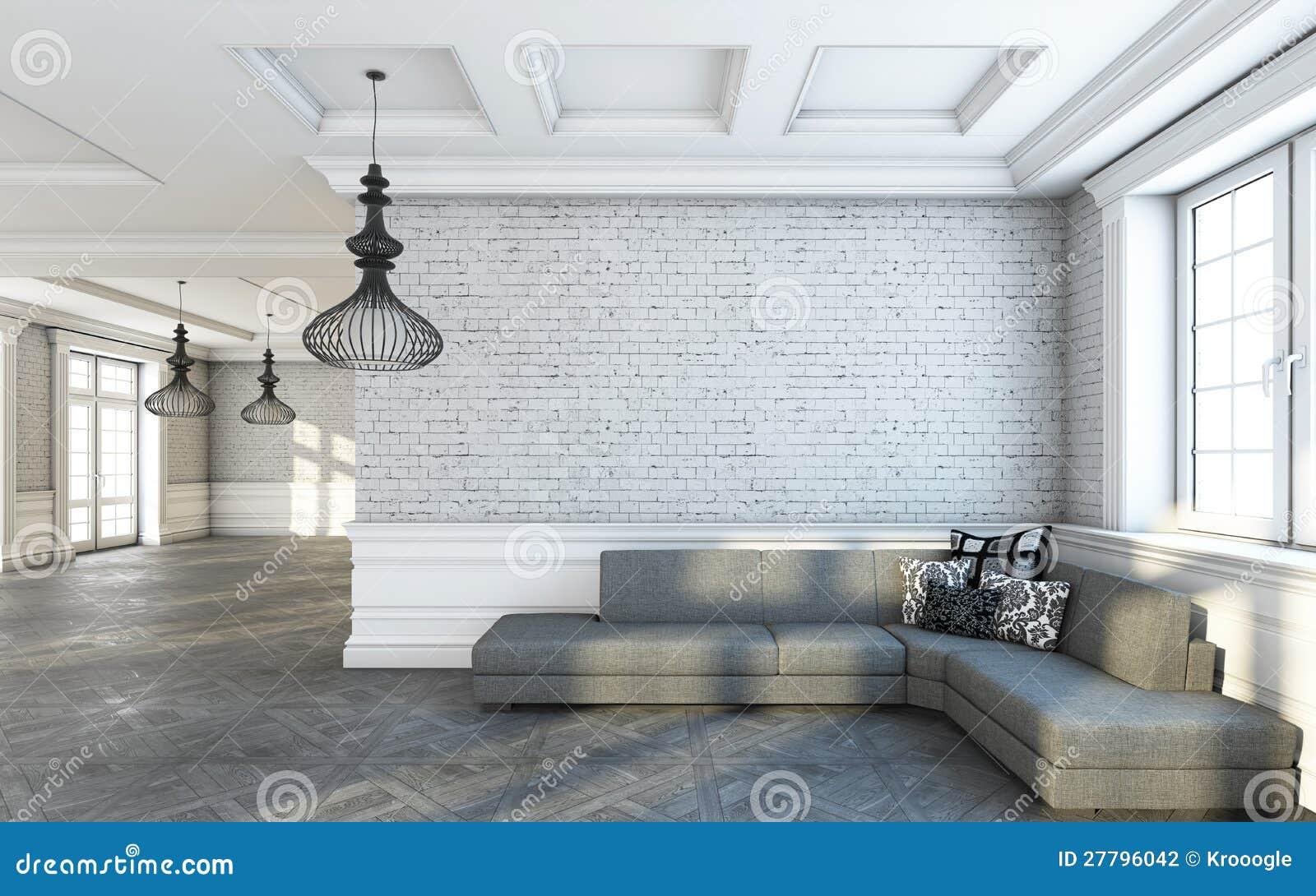 De grijze woonkamer van de bank stock illustratie Grijze woonkamer