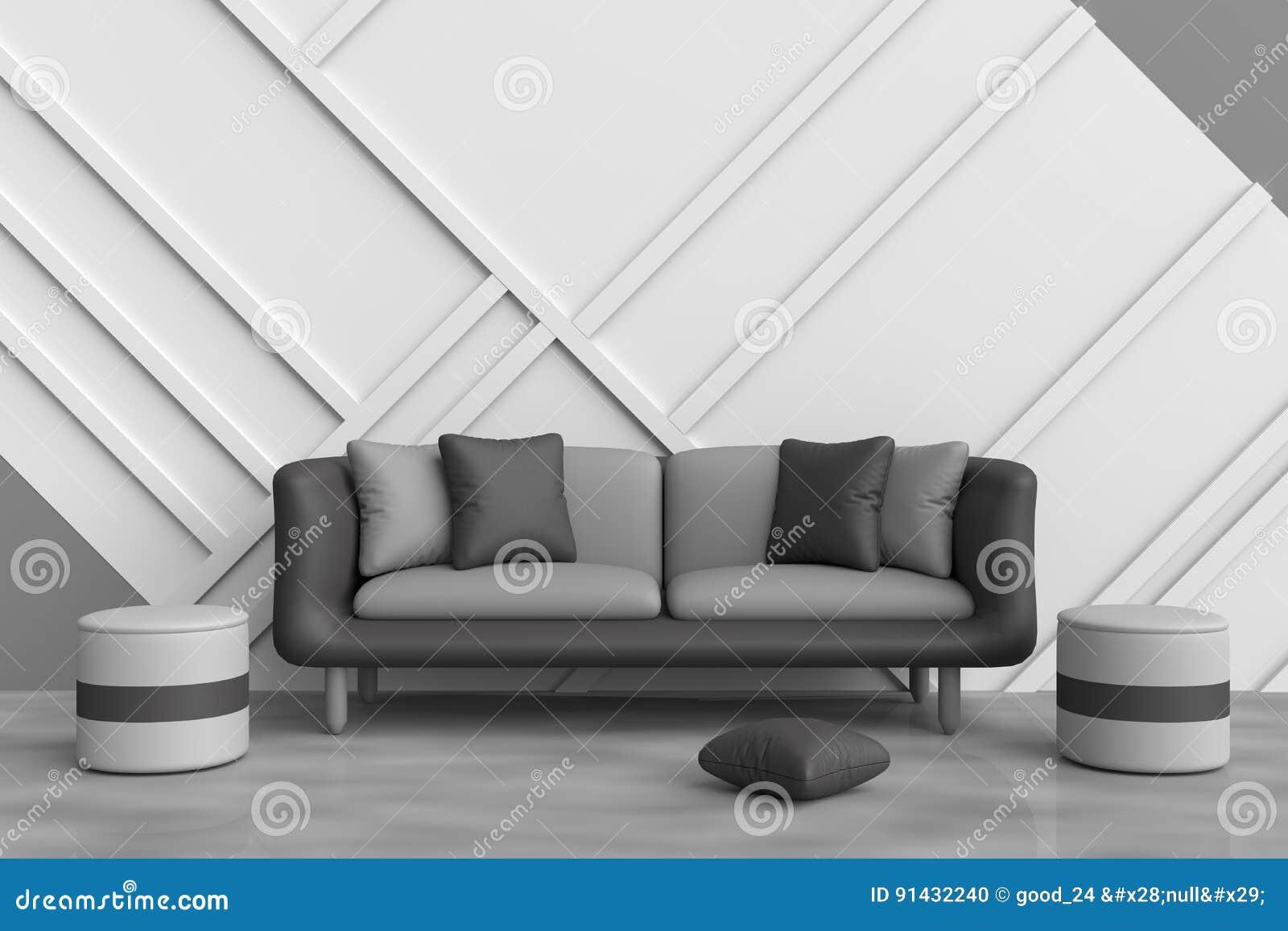 Licht Grijze Stoel : De grijze woonkamer is verfraaid met zwarte bank zwarte en grijze