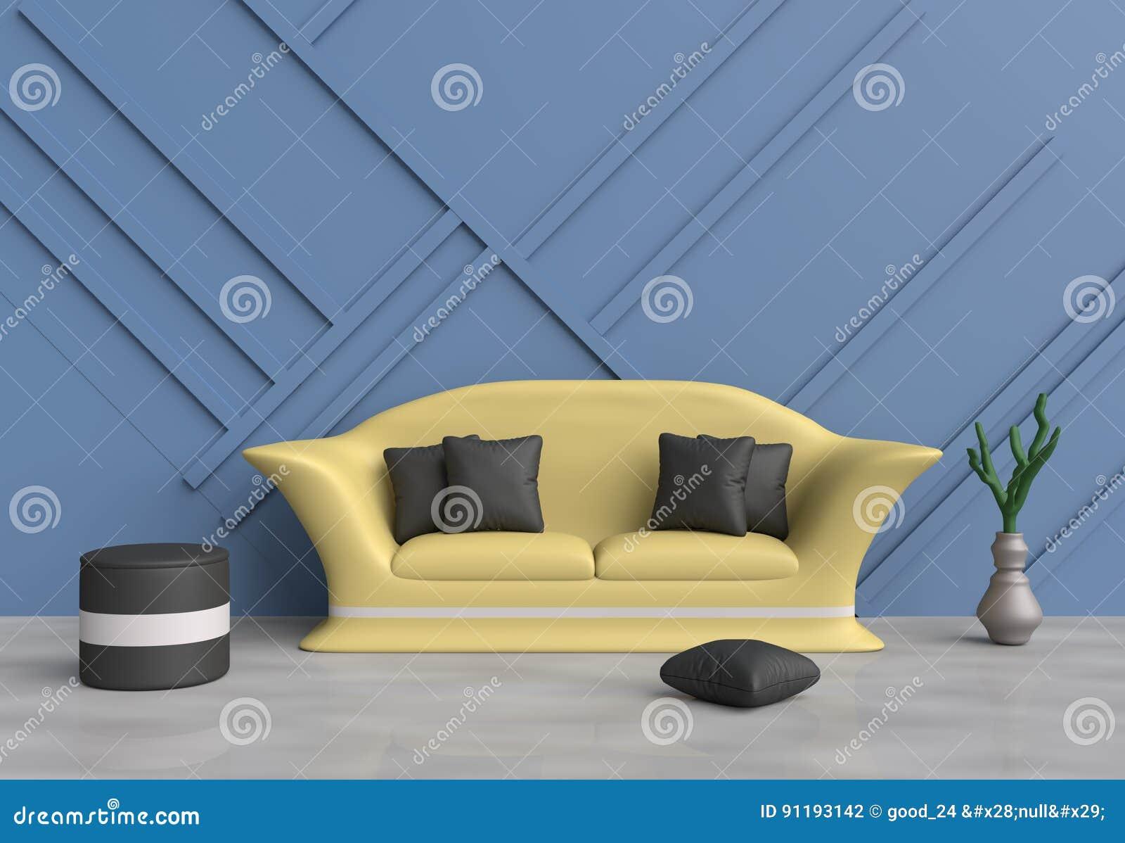 Koraalkleur De Woonkamer : De grijze woonkamer is verfraaide gele bank blauwe hoofdkussens