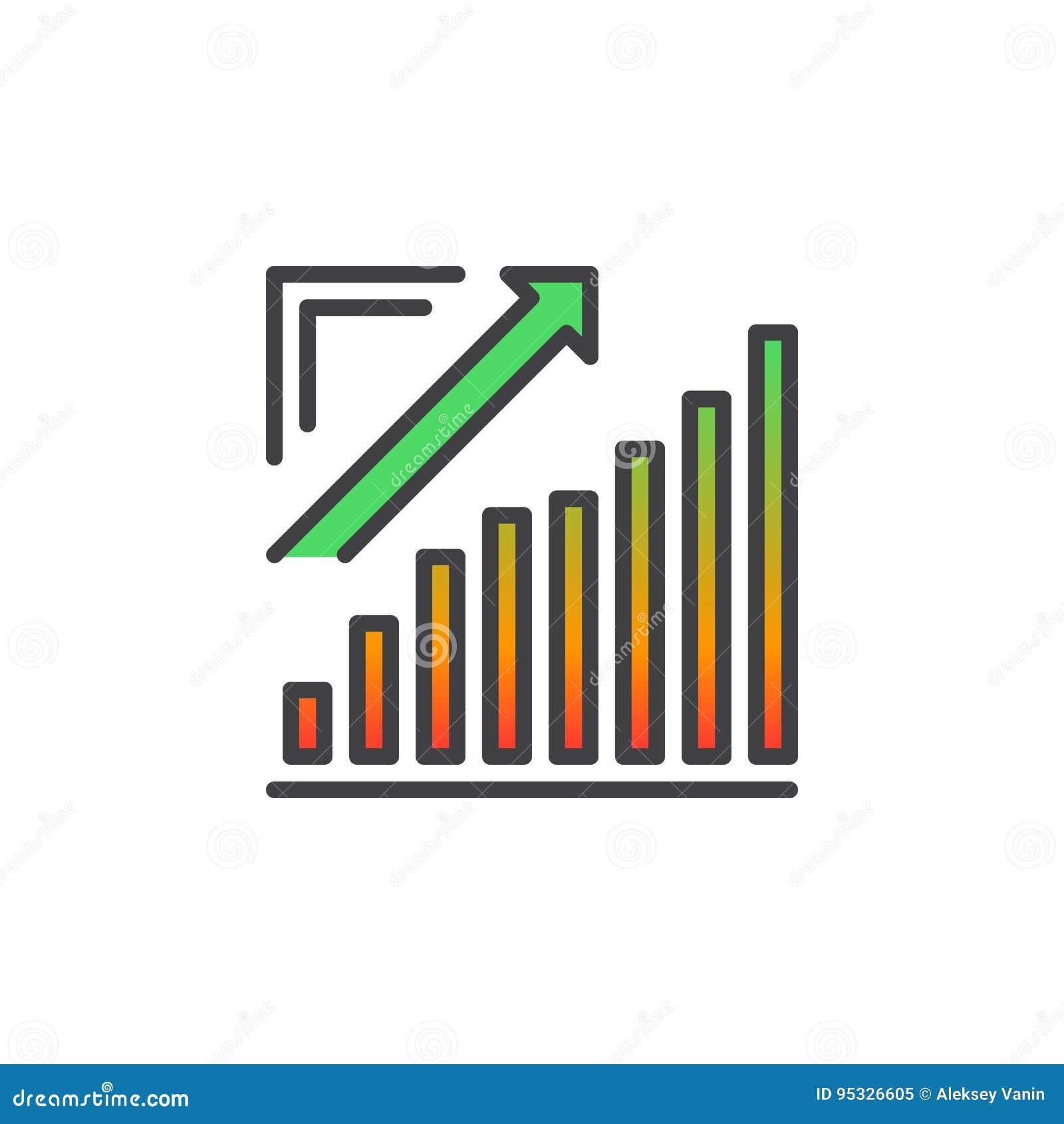De groeiende grafiek, Pijlgrafiek het uitgaan lijnpictogram, vulde overzichts vectorteken, lineair kleurrijk die pictogram op wit