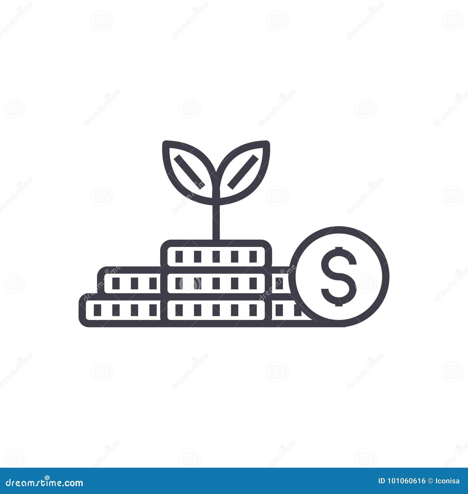 De groeigeld, investering, vector de lijnpictogram van het financiënplan, teken, illustratie op achtergrond, editable slagen