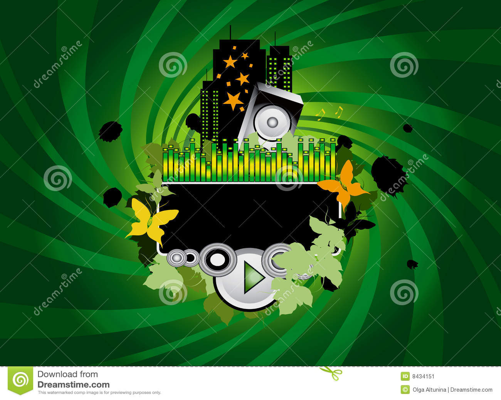 De groene Achtergrond van de Muziek