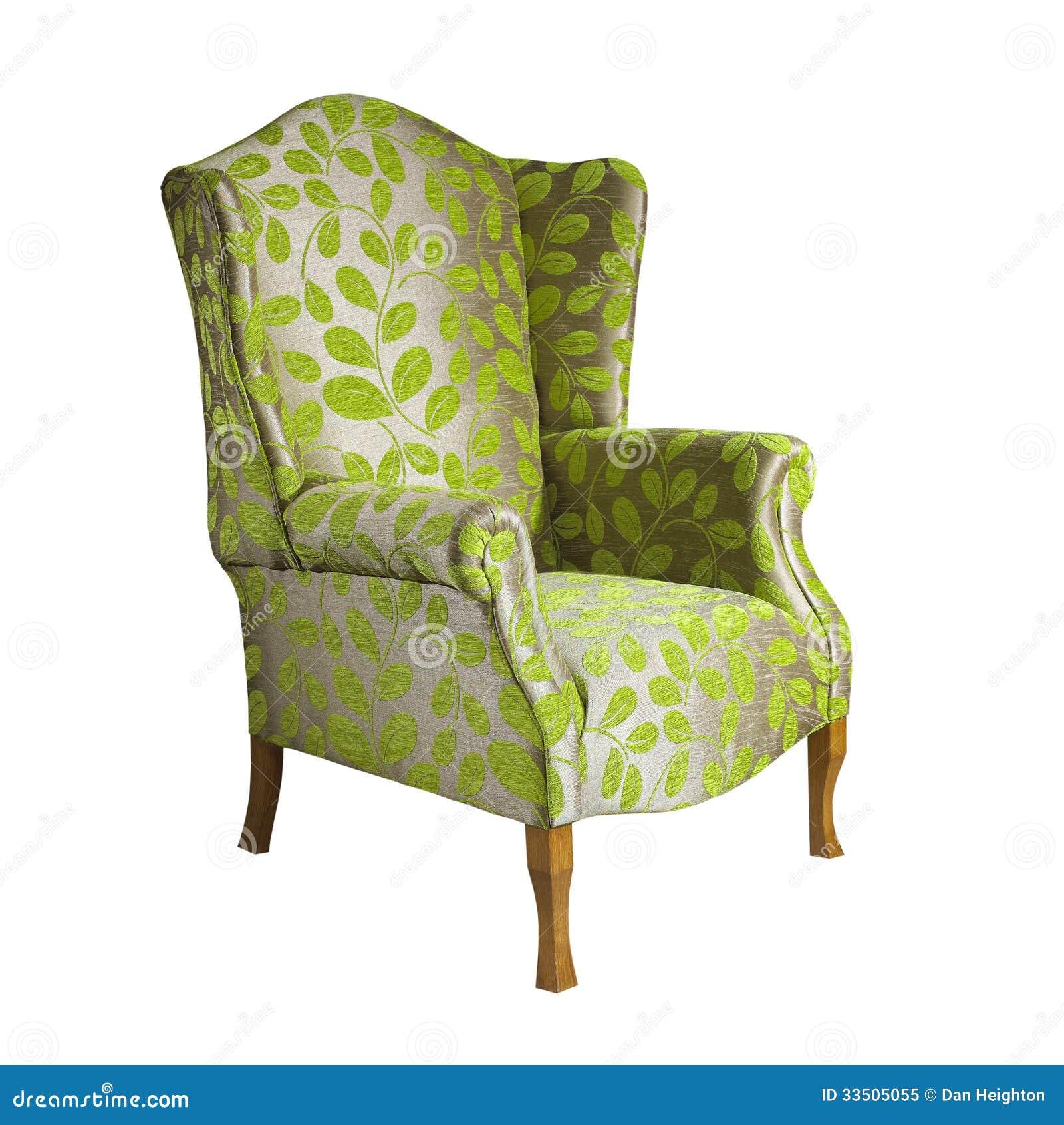 De groene die stoel van het stoffenwapen op witte for Groene stoel