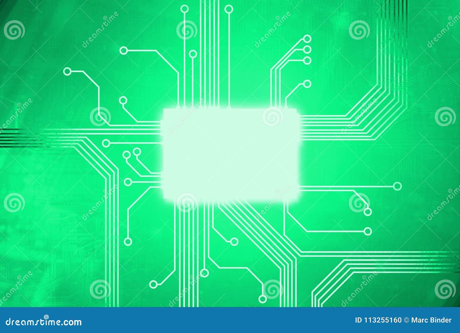 De groene Gekleurde kern van de digitale computerspaander