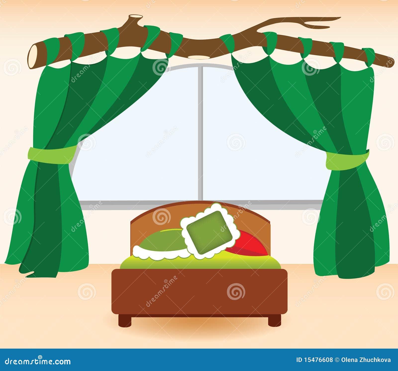 De Groene Gordijnen In De Slaapkamer Royalty-vrije Stock Fotos ...