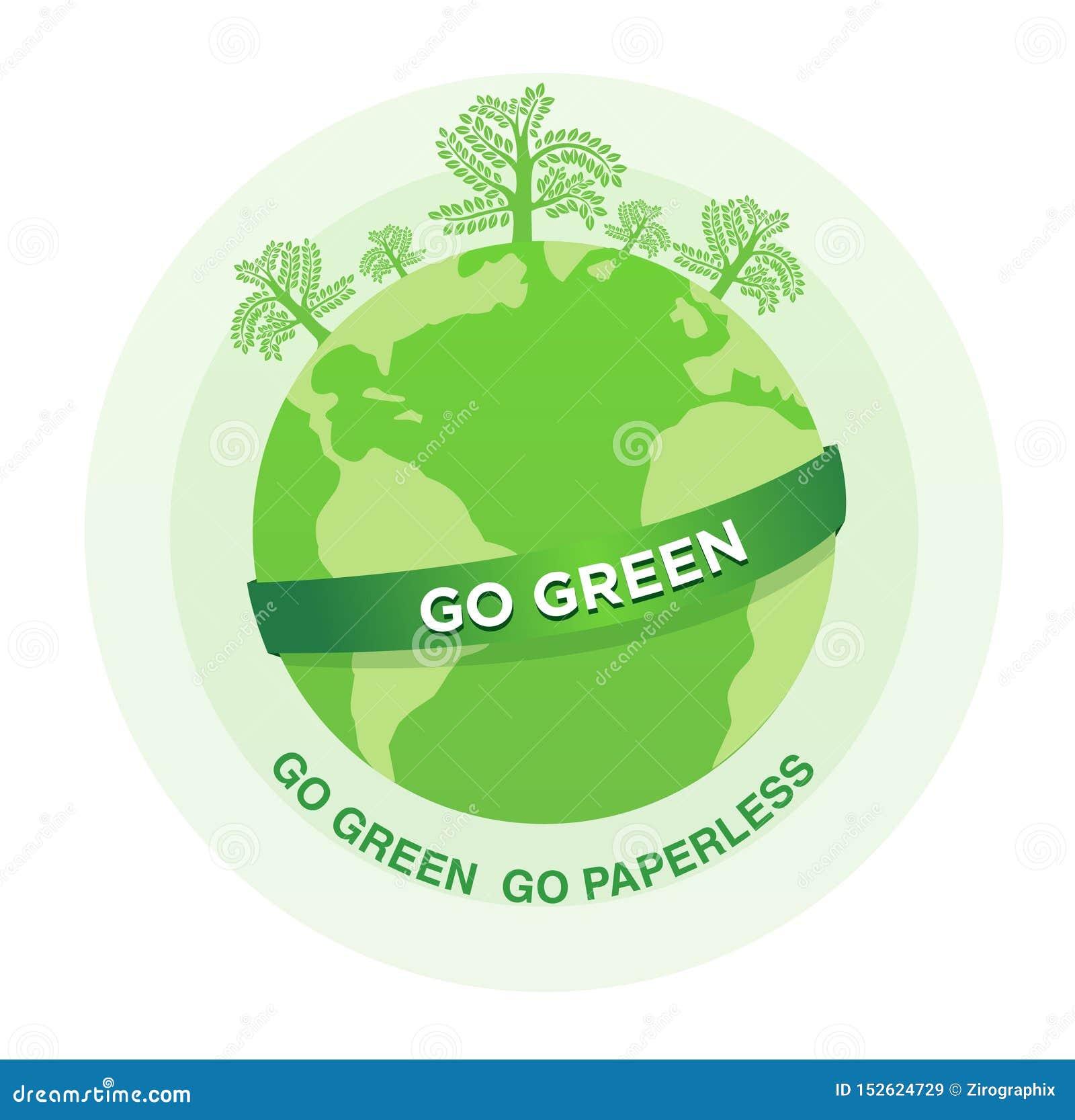 De groene illustratie van Go gaat paperless