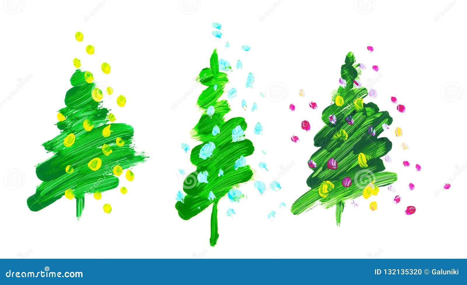 De groene Kerstboom van de borstelslag olieverfhand getrokken illustra