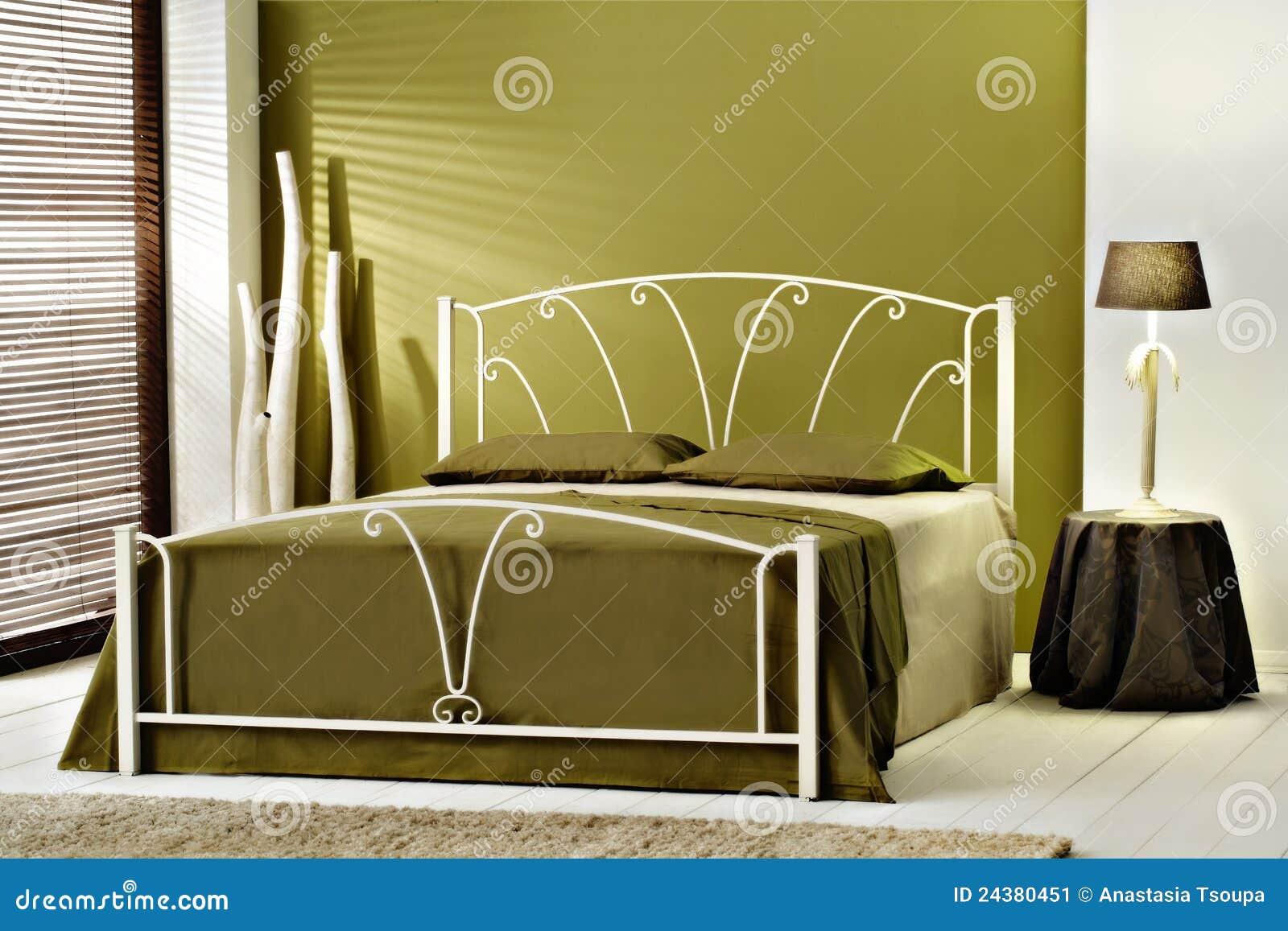 De groene moderne slaapkamer van de luxe stock afbeelding