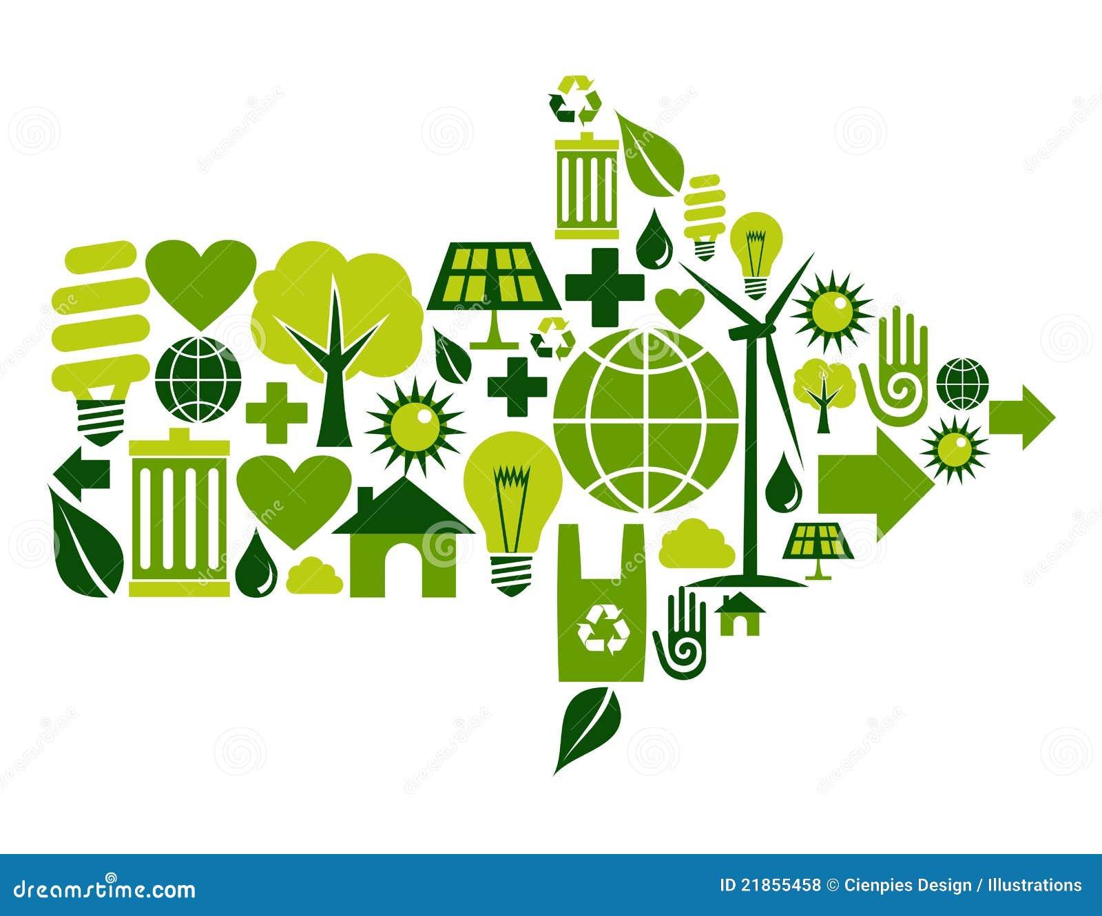 De groene pictogrammen van het pijlsymbool