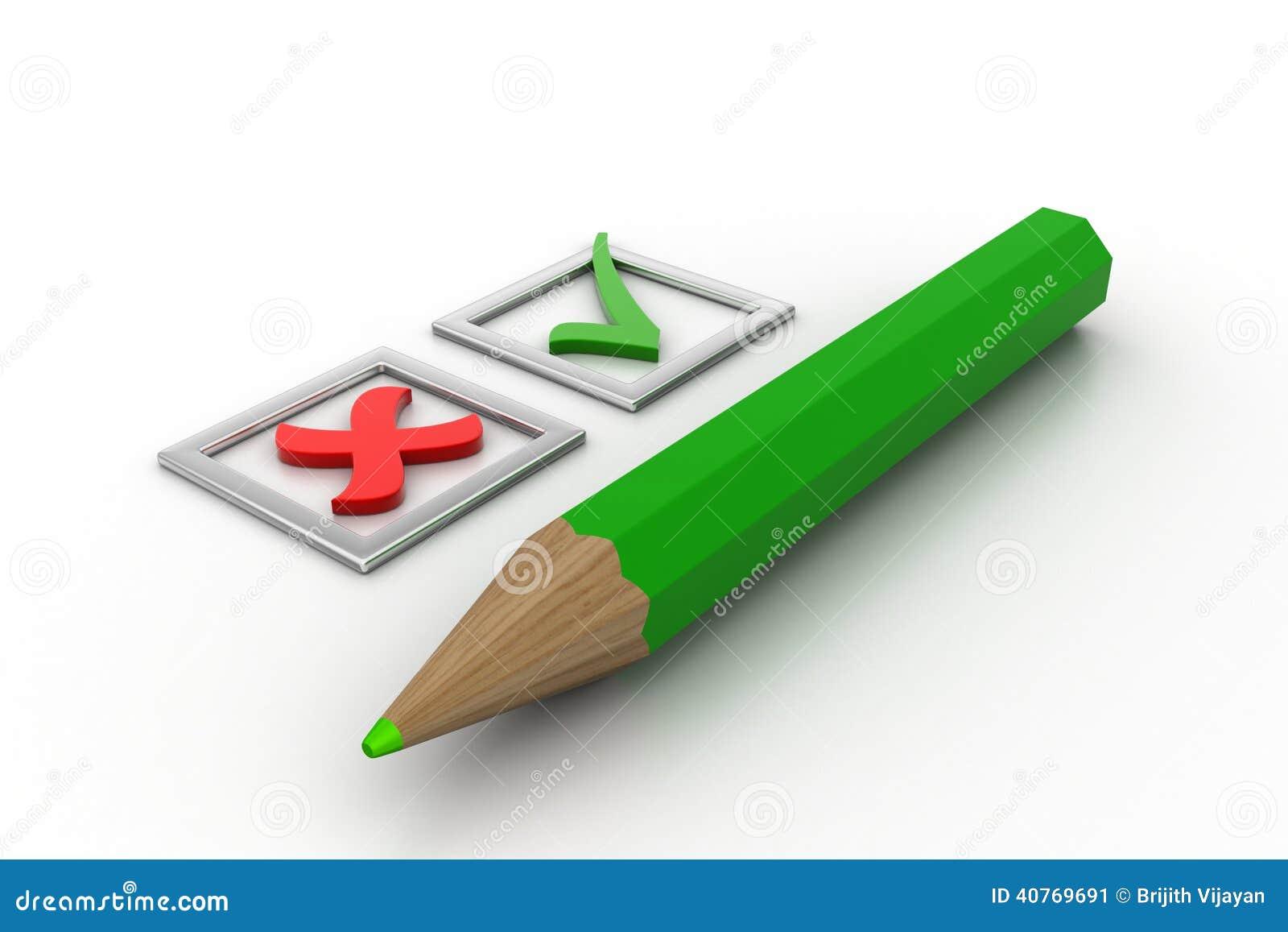 De Groene tikken van de controlelijst in checkboxes en potlood