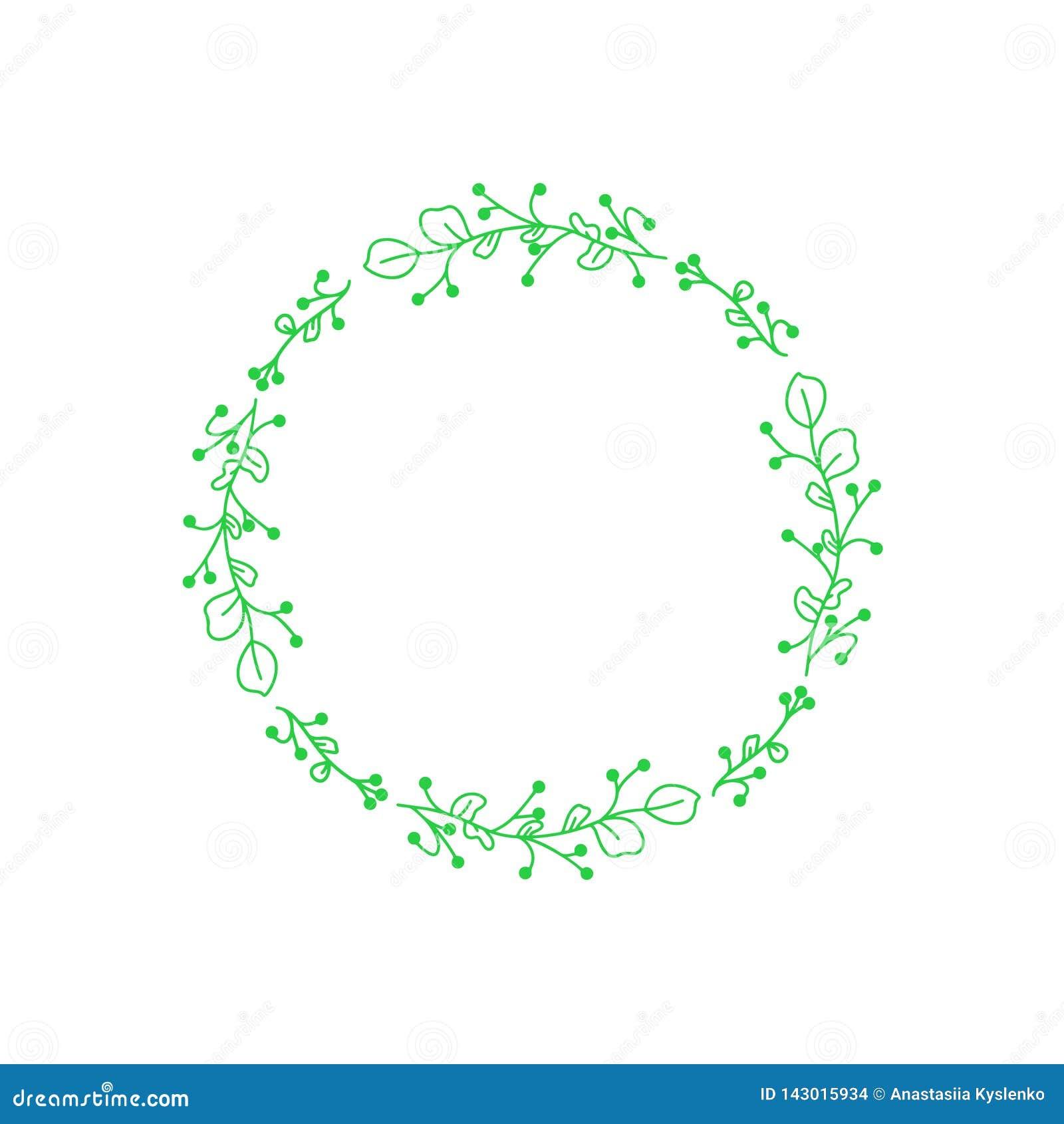 De groene vector van Huwelijksbloemen De bloemenkaart van de kaderuitnodiging Het element van het bloemdecor Moderne stijl Vector