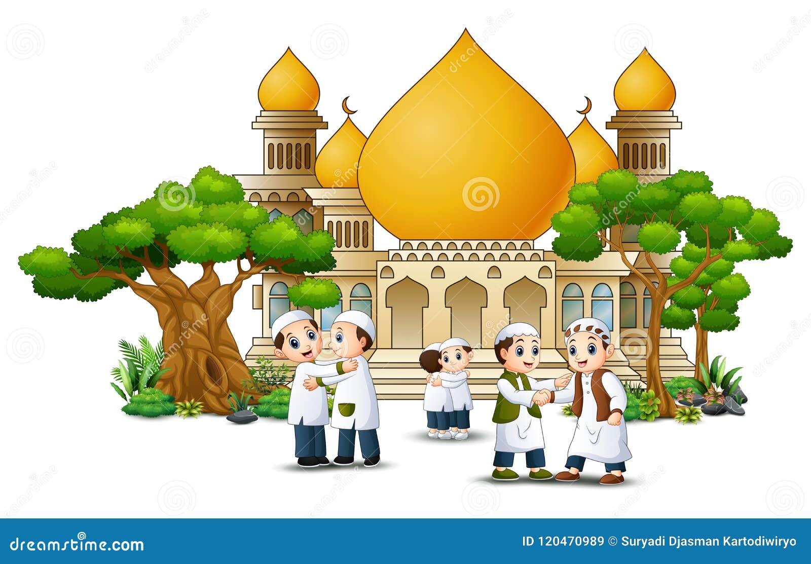 De groep het moslimmensenbeeldverhaal schudden dient voorzijde van een moskee in